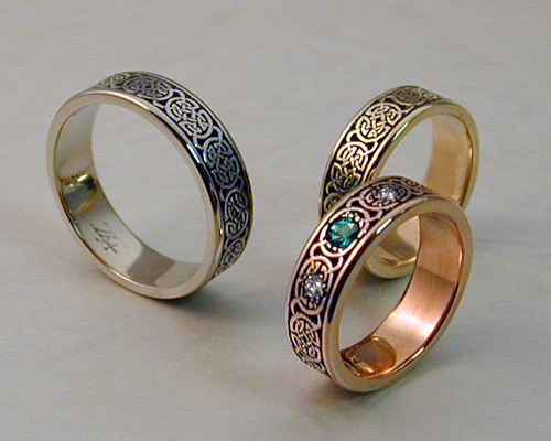8th to 9th century style, Celtic Wedding Band Set.