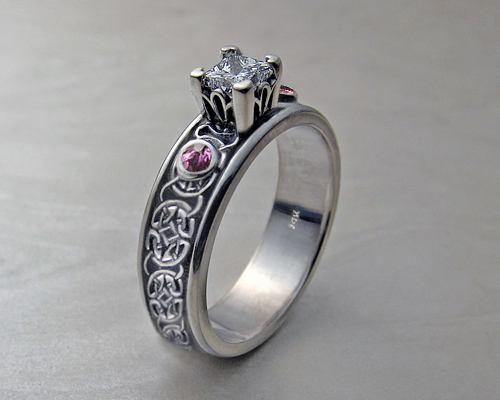 Celtic engagement ring, with princess cut diamond.