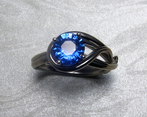 Fluid, organic, Tanzanite engagement ring.