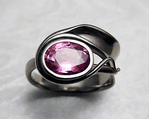 One-of-a-kind, pink sapphire engagement ring.