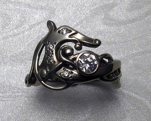 Viking dragon engagement ring.