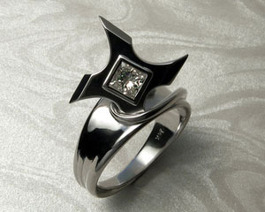 Ninja Star Shuriken engagement ring.