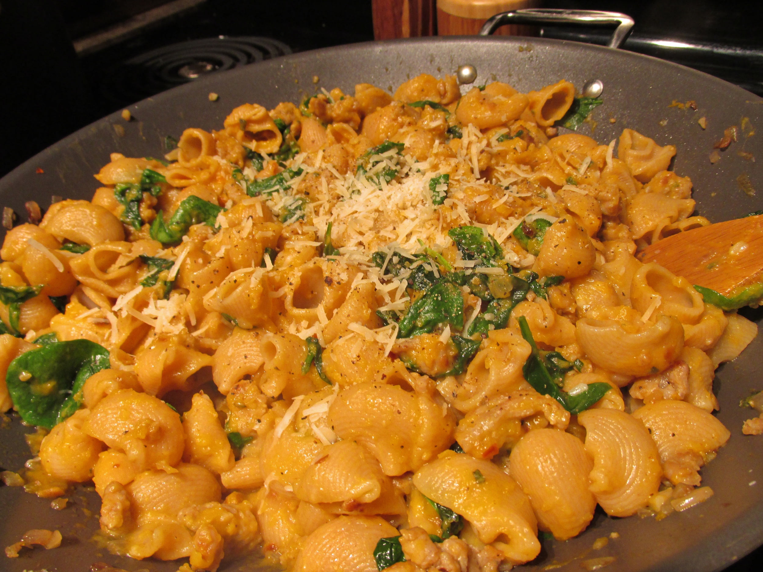 Roasted Butternut Squash, Sausage, and Spinach Pasta