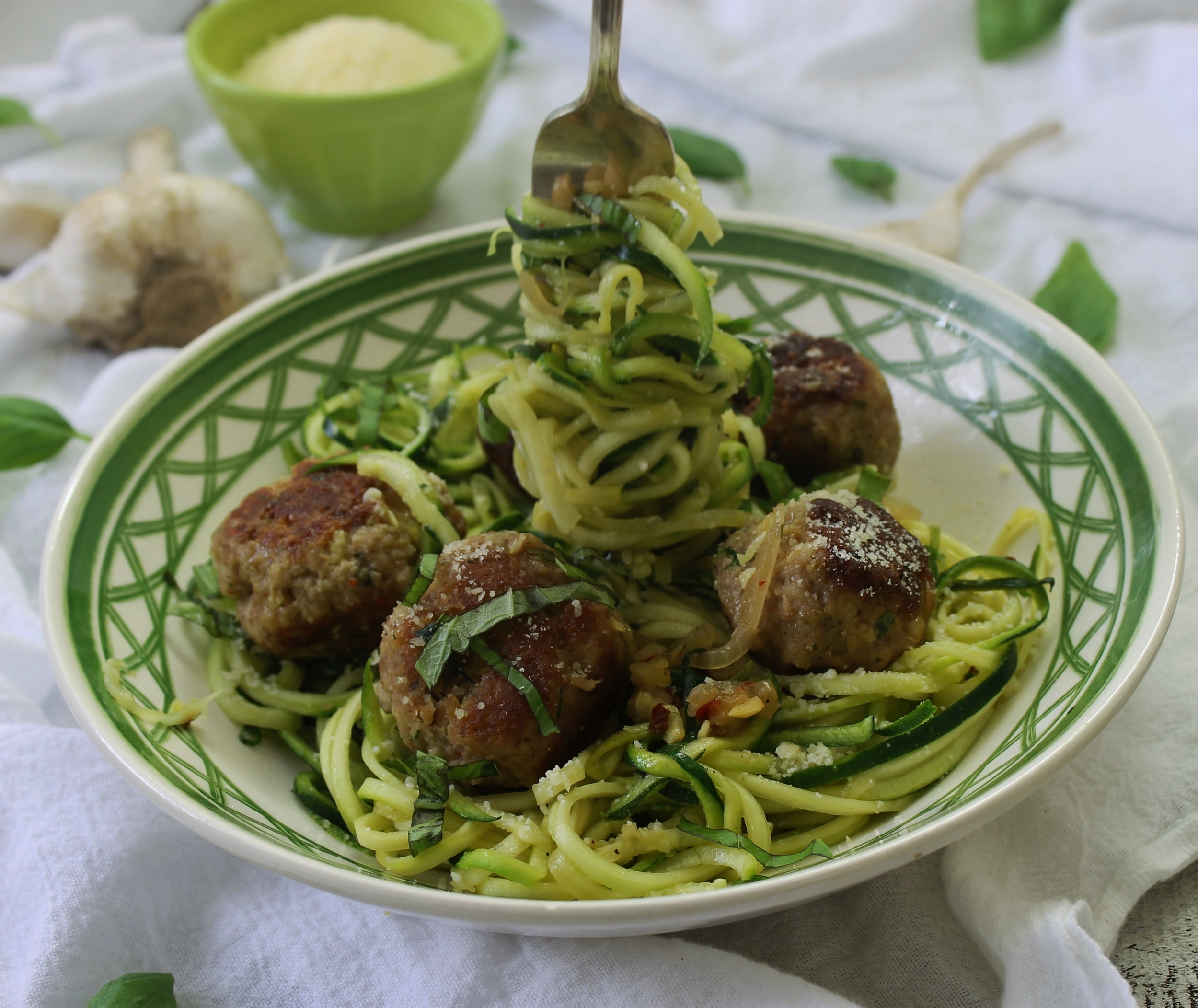"Zucchini Noodle ""Pasta"" and Pork Meatballs: My Diary of Us"