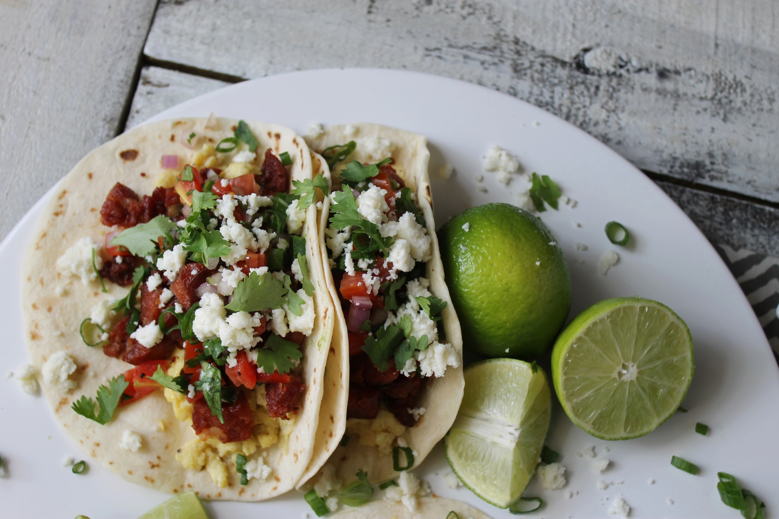 Breakfast Tacos with Andouille Sausage and Queso Fresco: My Diary of Us