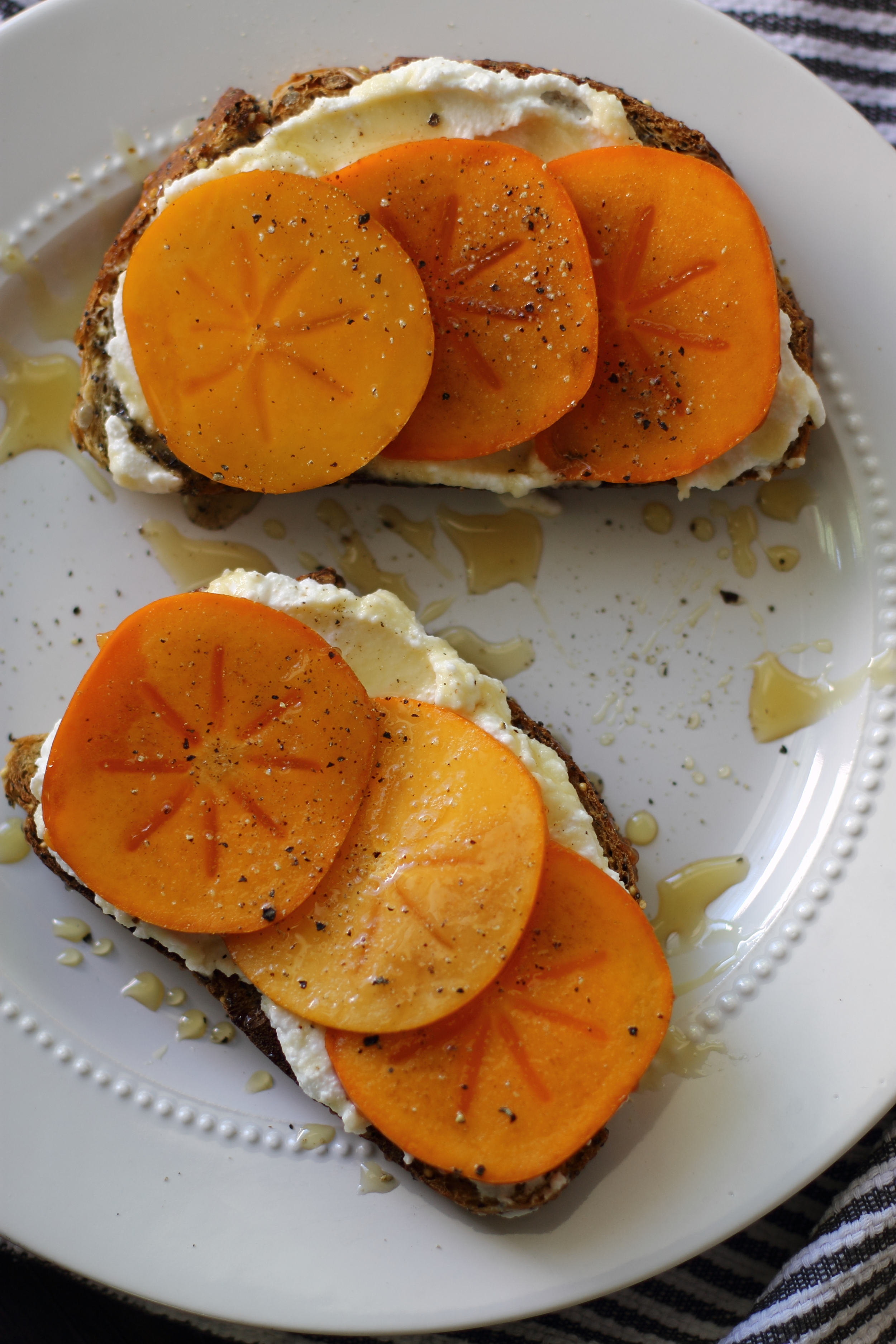Ricotta, Honey, and Cracked Pepper Persimmon Toast: My Diary of Us