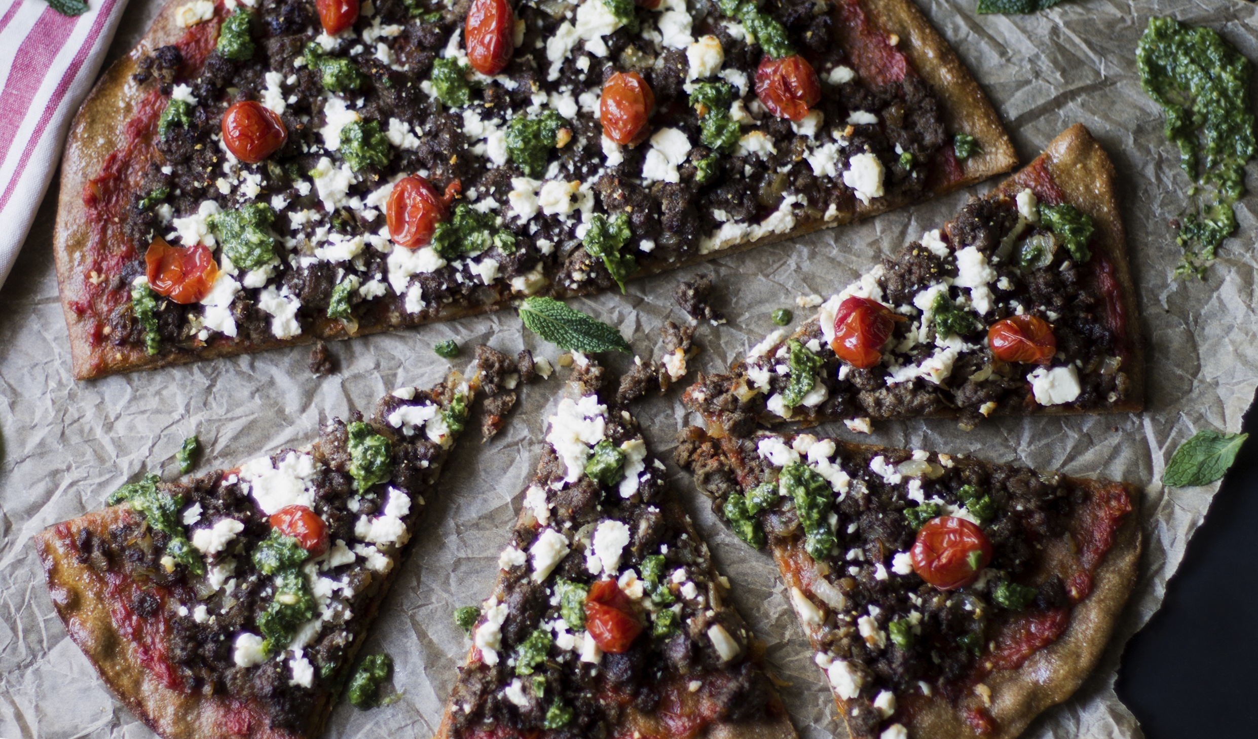 Roasted Tomato and Lamb Pizza with Mint Pesto: My Diary of Us