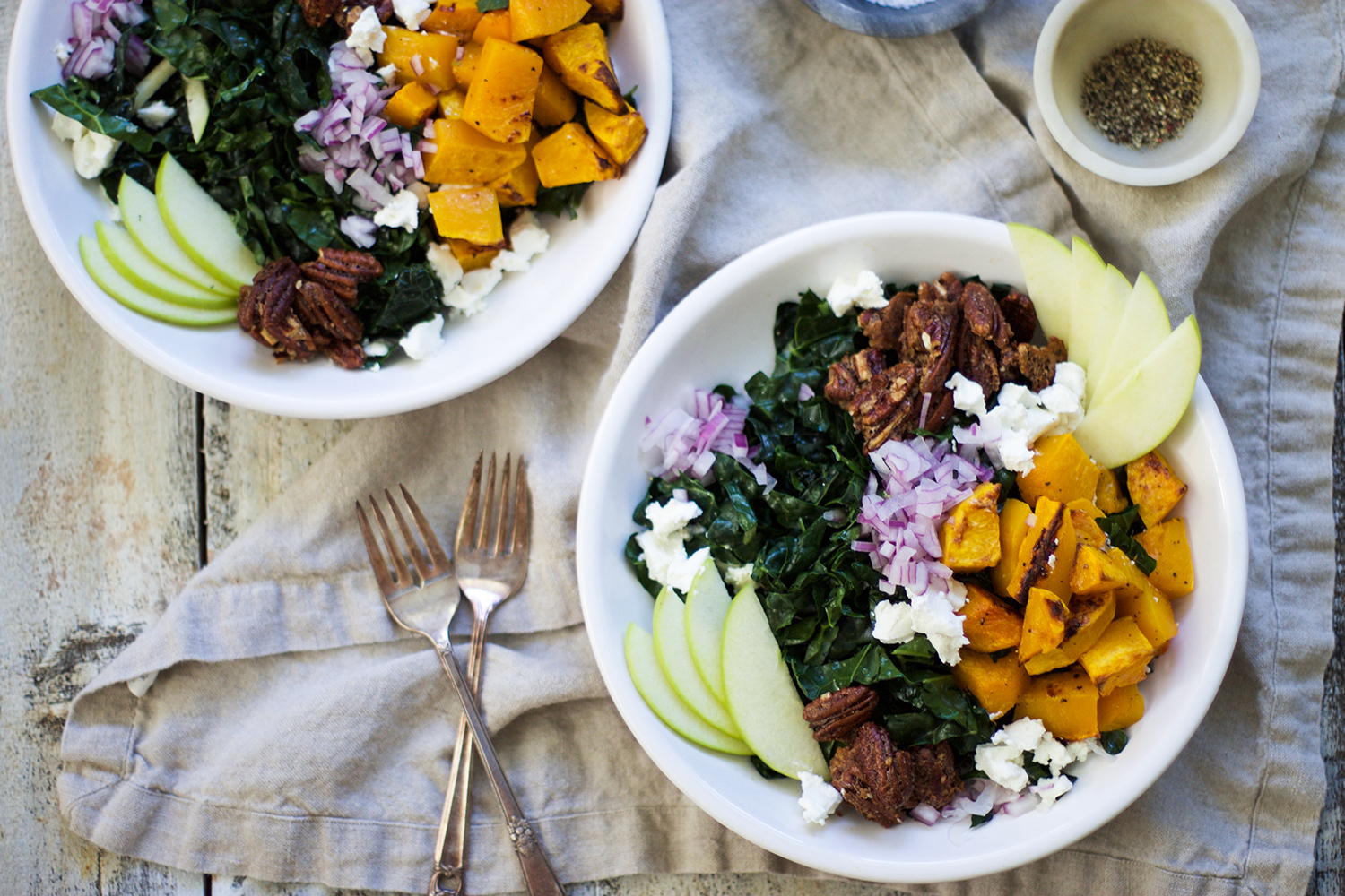 Healthy Butternut Squash, Apple, and Kale Salad with Spiced Pecans: My Diary of Us