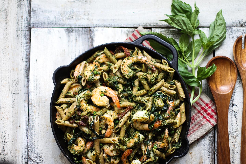 Healthy Whole Wheat Shrimp Pasta with Kale Pesto: My Diary of Us