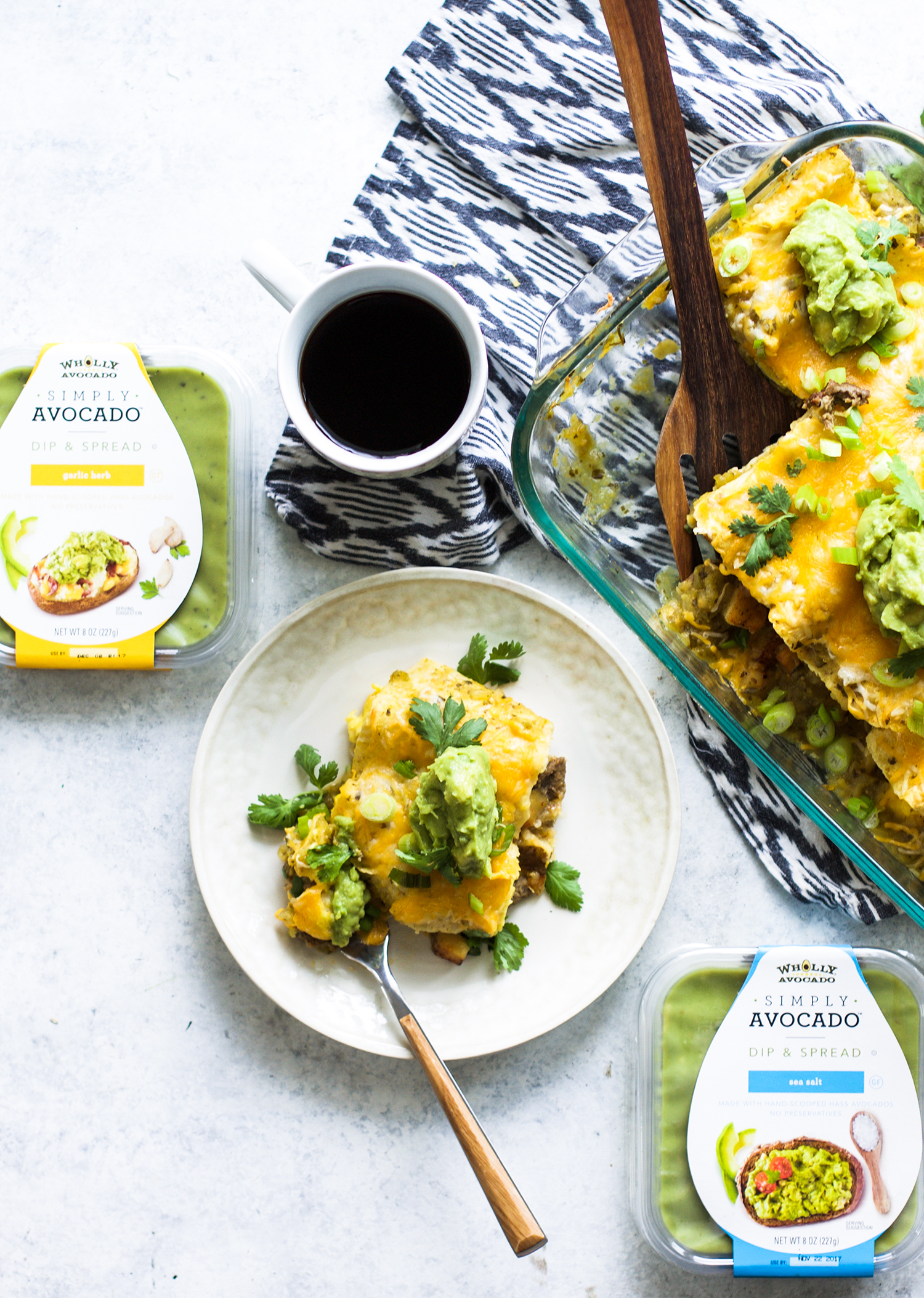 Salsa Verde Egg, Sausage, and Potato Breakfast Enchiladas