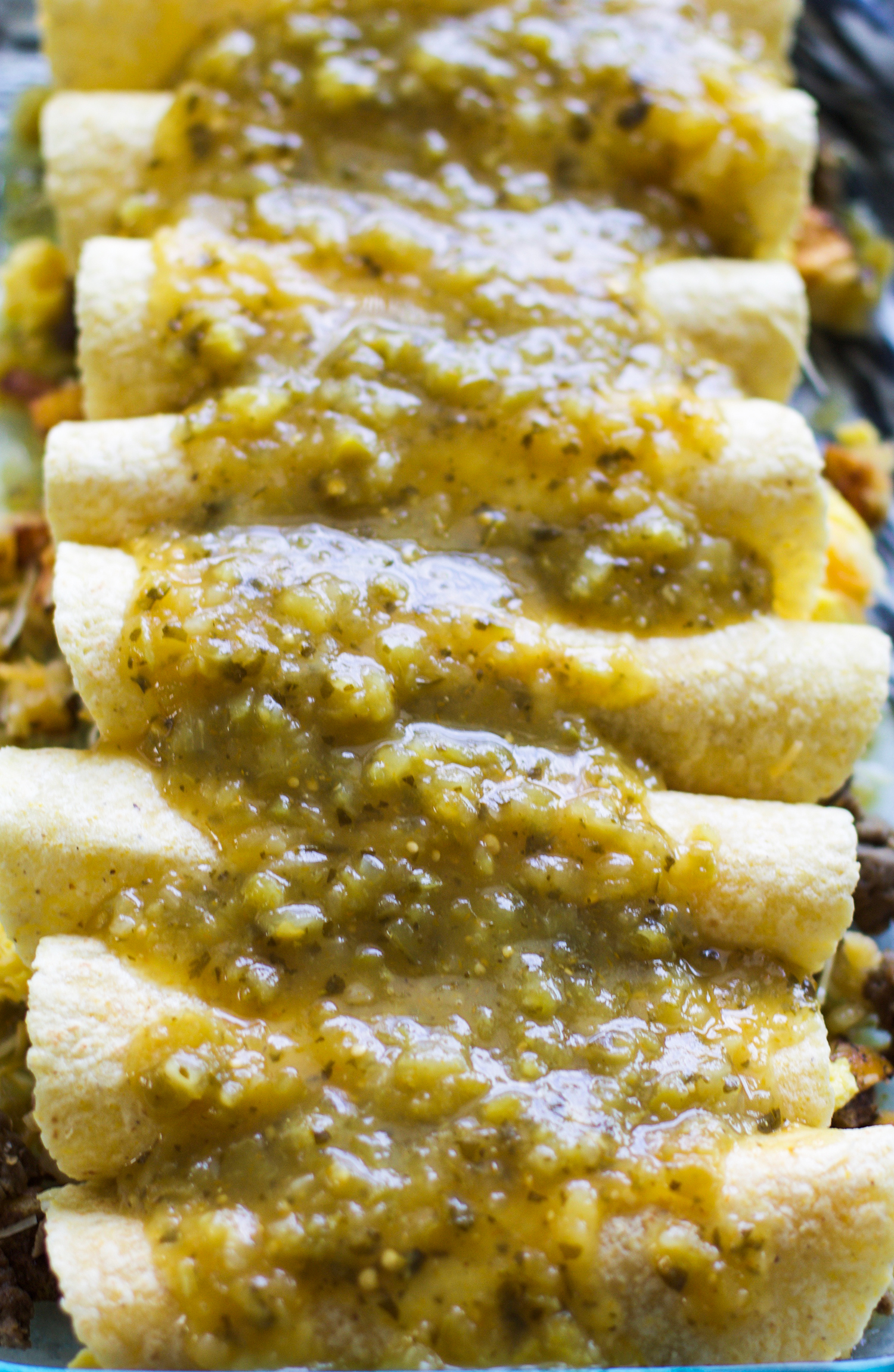 Salsa Verde Egg, Sausage, and Potato Breakfast Enchiladas: My Diary of Us