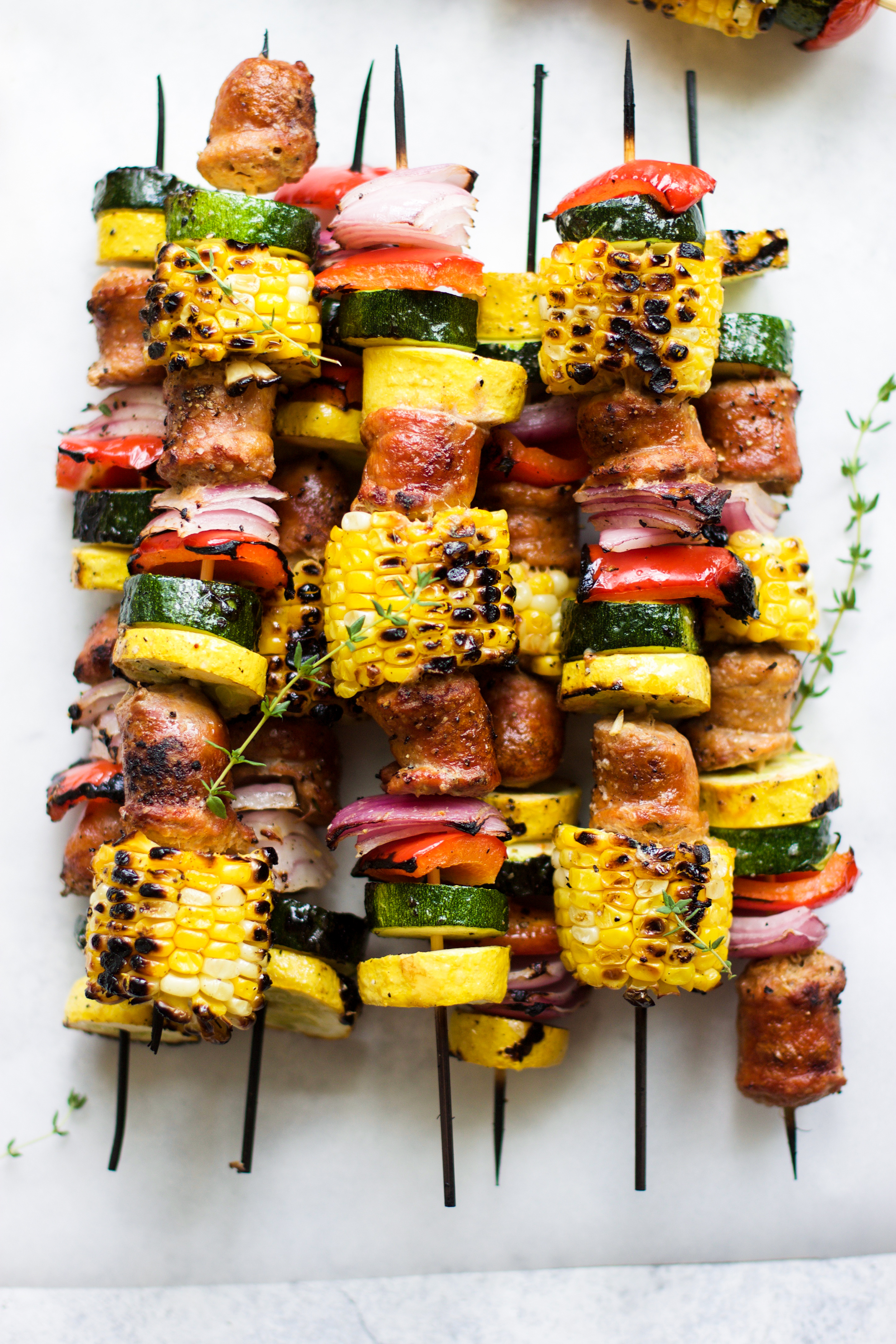 Grilled Lemon Thyme Chicken Sausage and Veggie Skewers: My Diary of Us