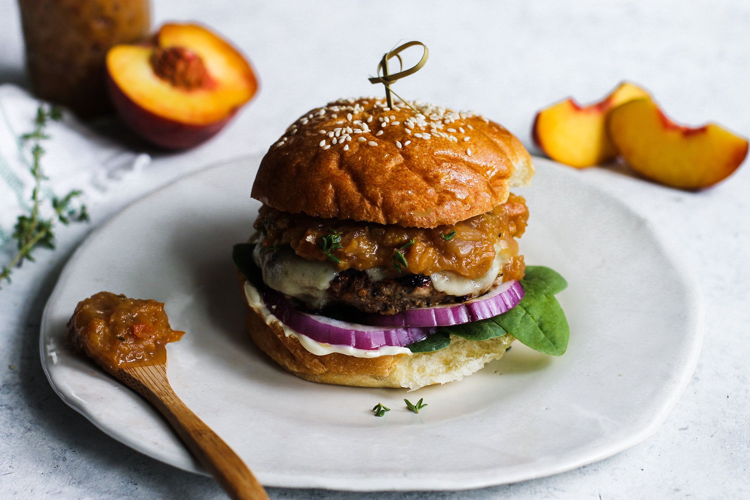 Sweet and Spicy Bourbon Peach Chutney Pork Burgers: My Diary of Us