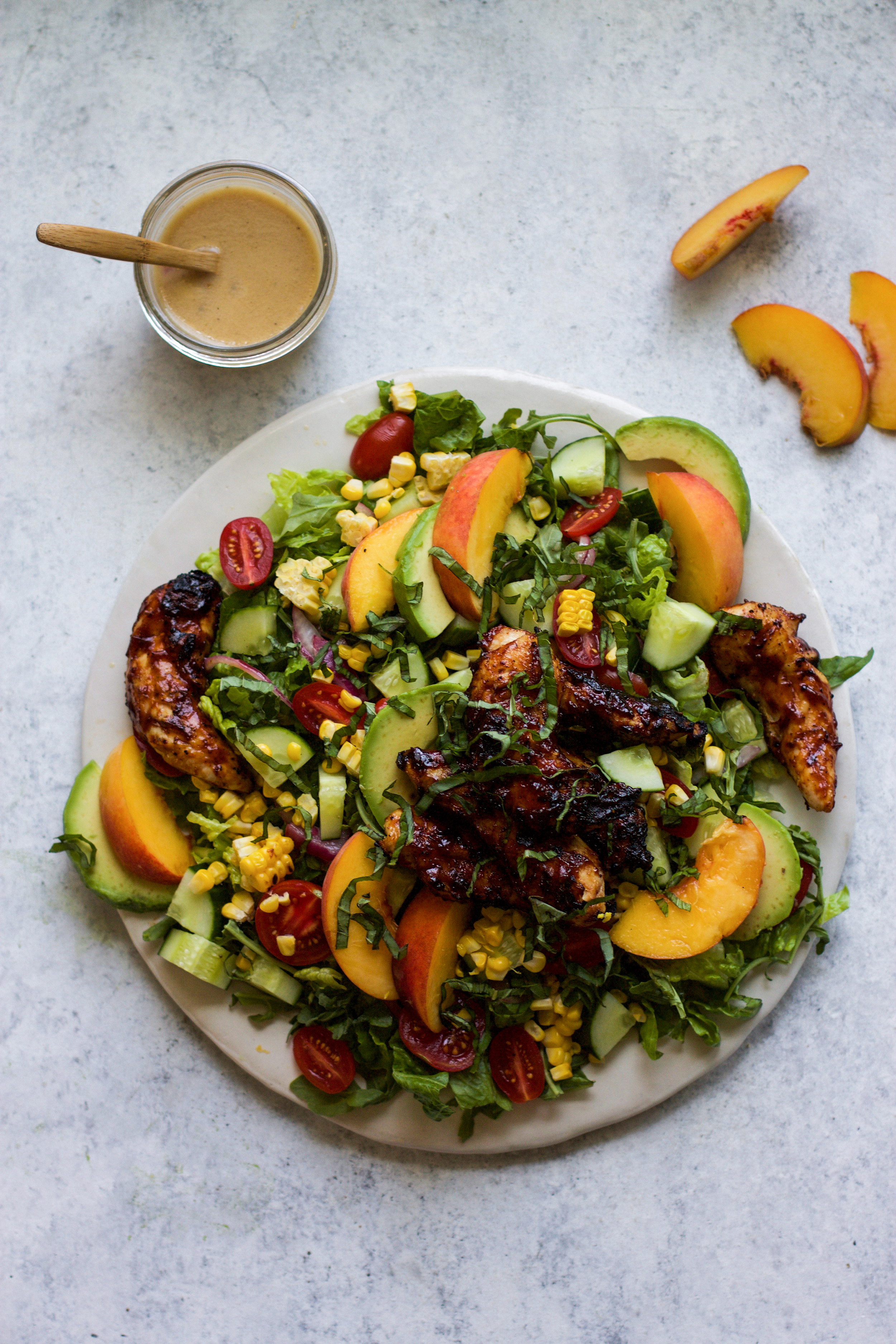 Grilled BBQ Chicken and Peach Salad: My Diary of Us