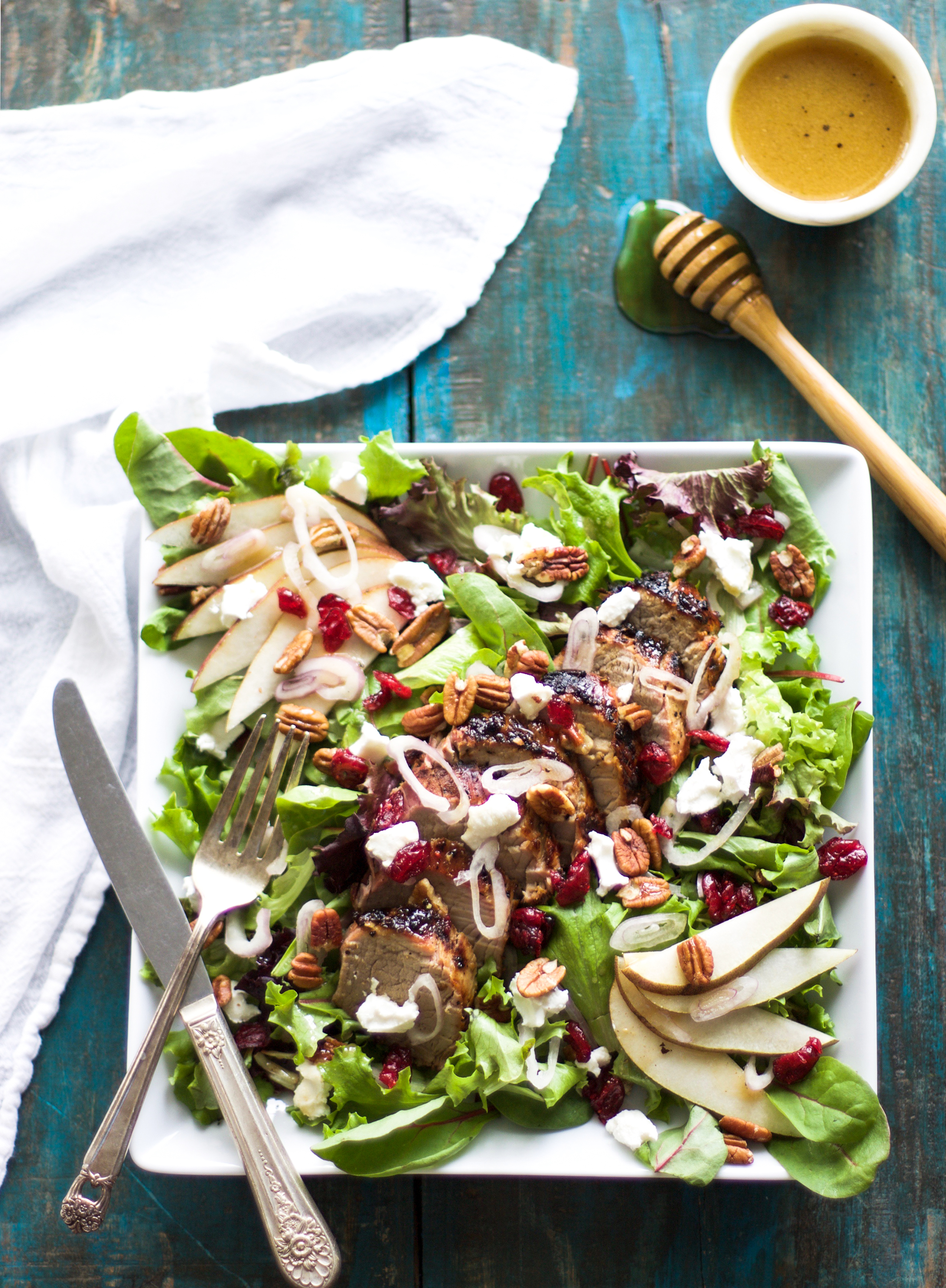 Pear, Goat Cheese, and Pork Tenderloin Salad: My Diary of Us