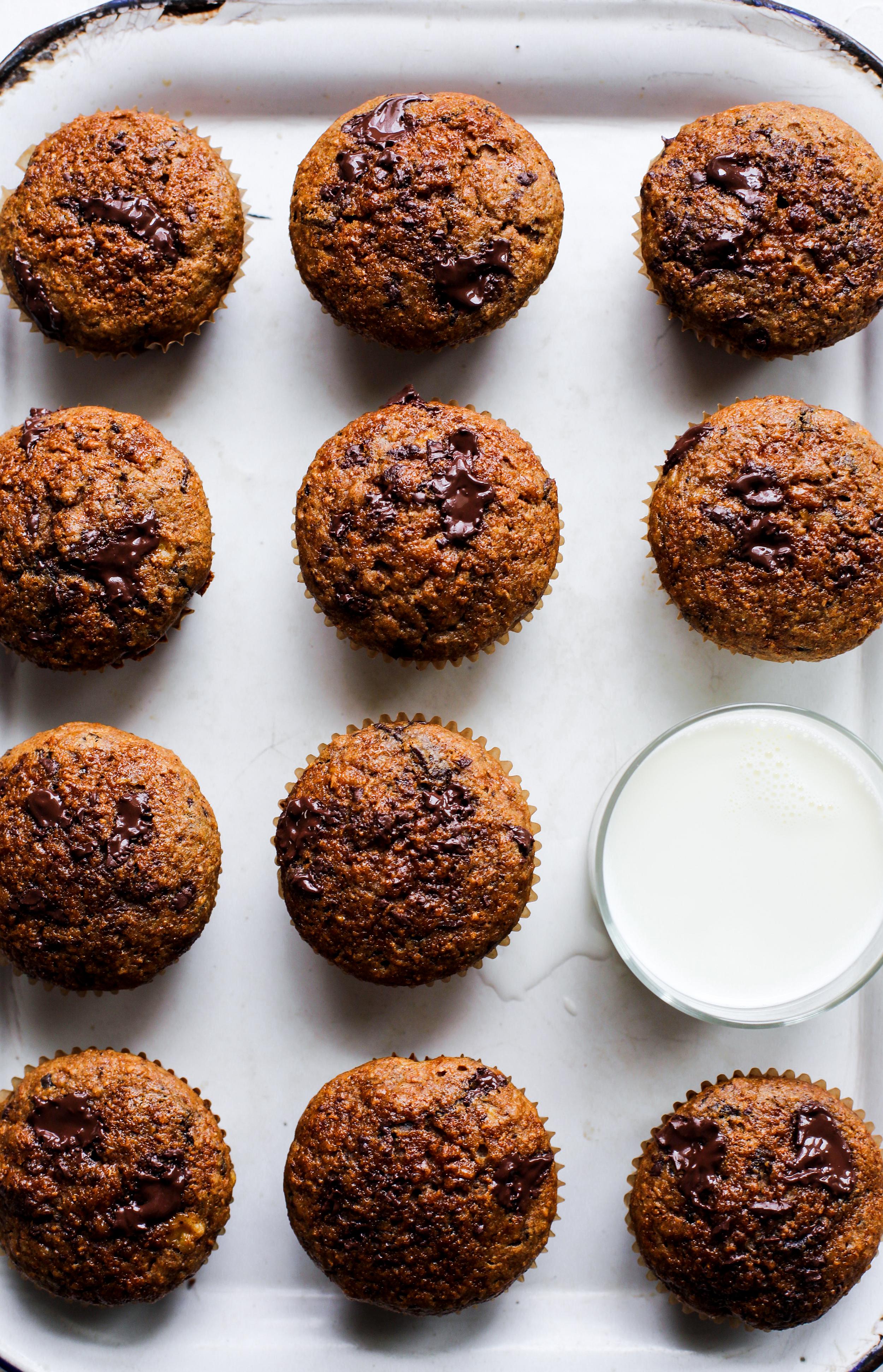 Healthier Chocolate Chunk Banana Muffins: My Diary of Us