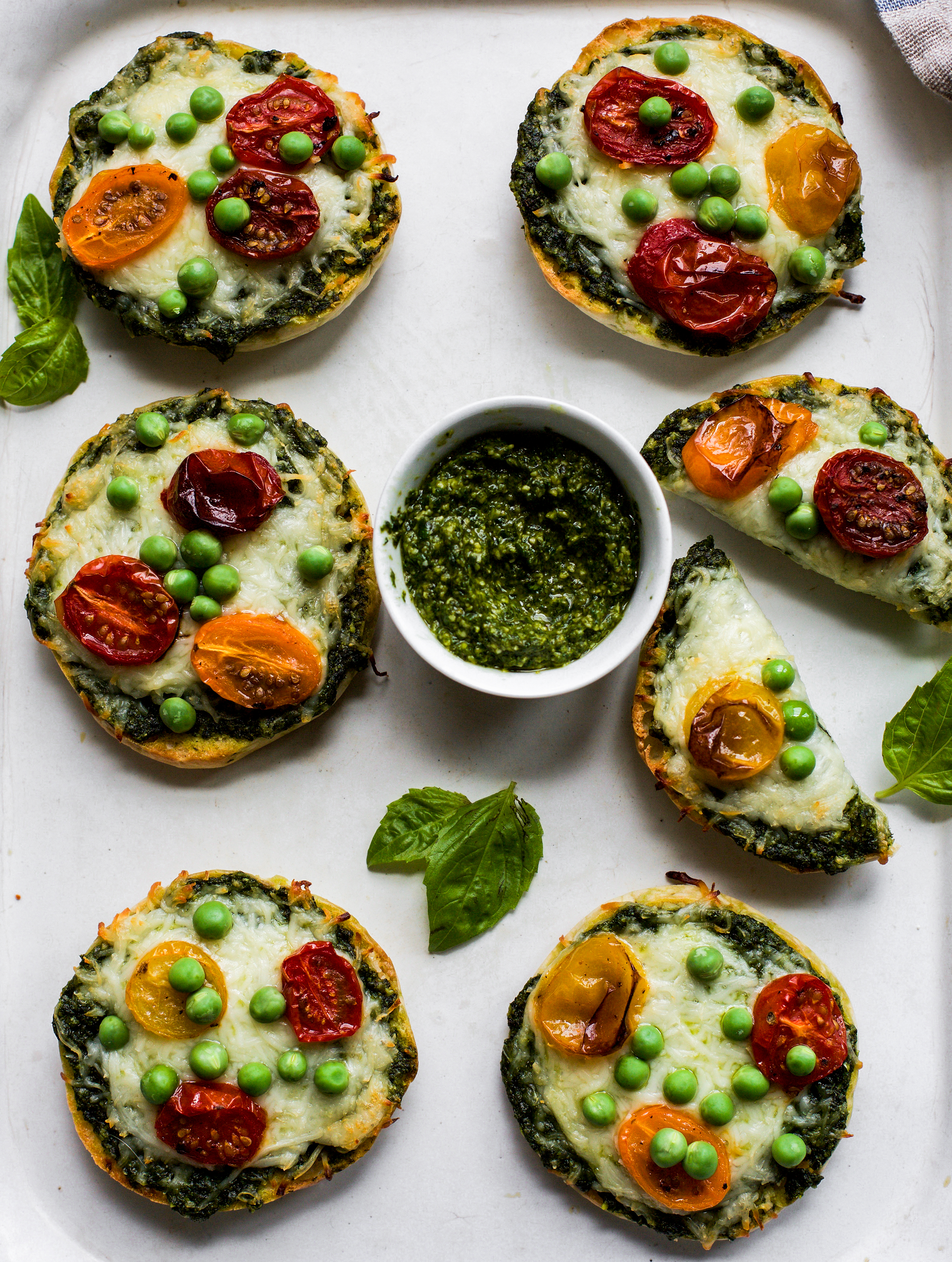 Green Monster Pesto English Muffin Pizzas