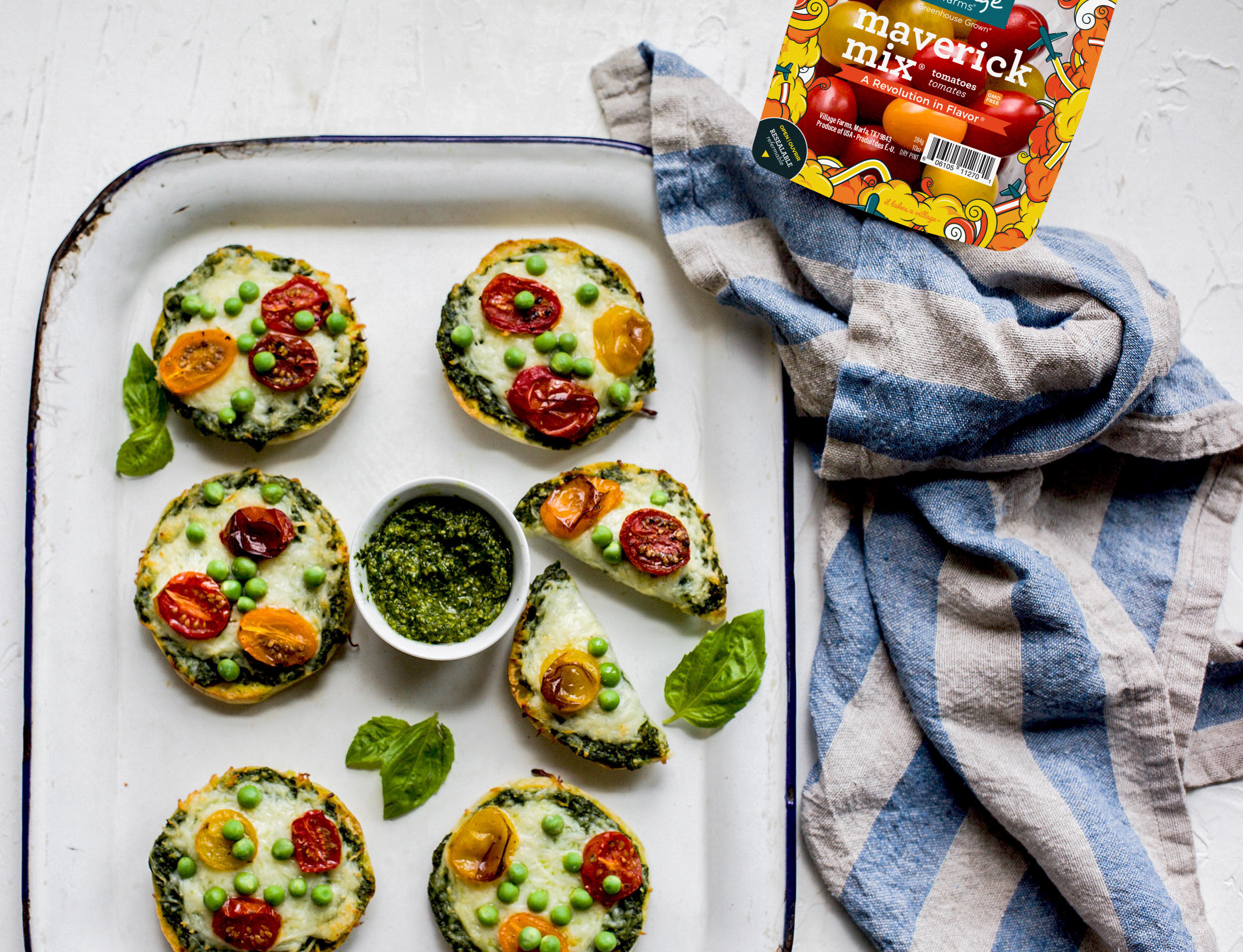 Green Monster English Muffin Pesto Pizzas