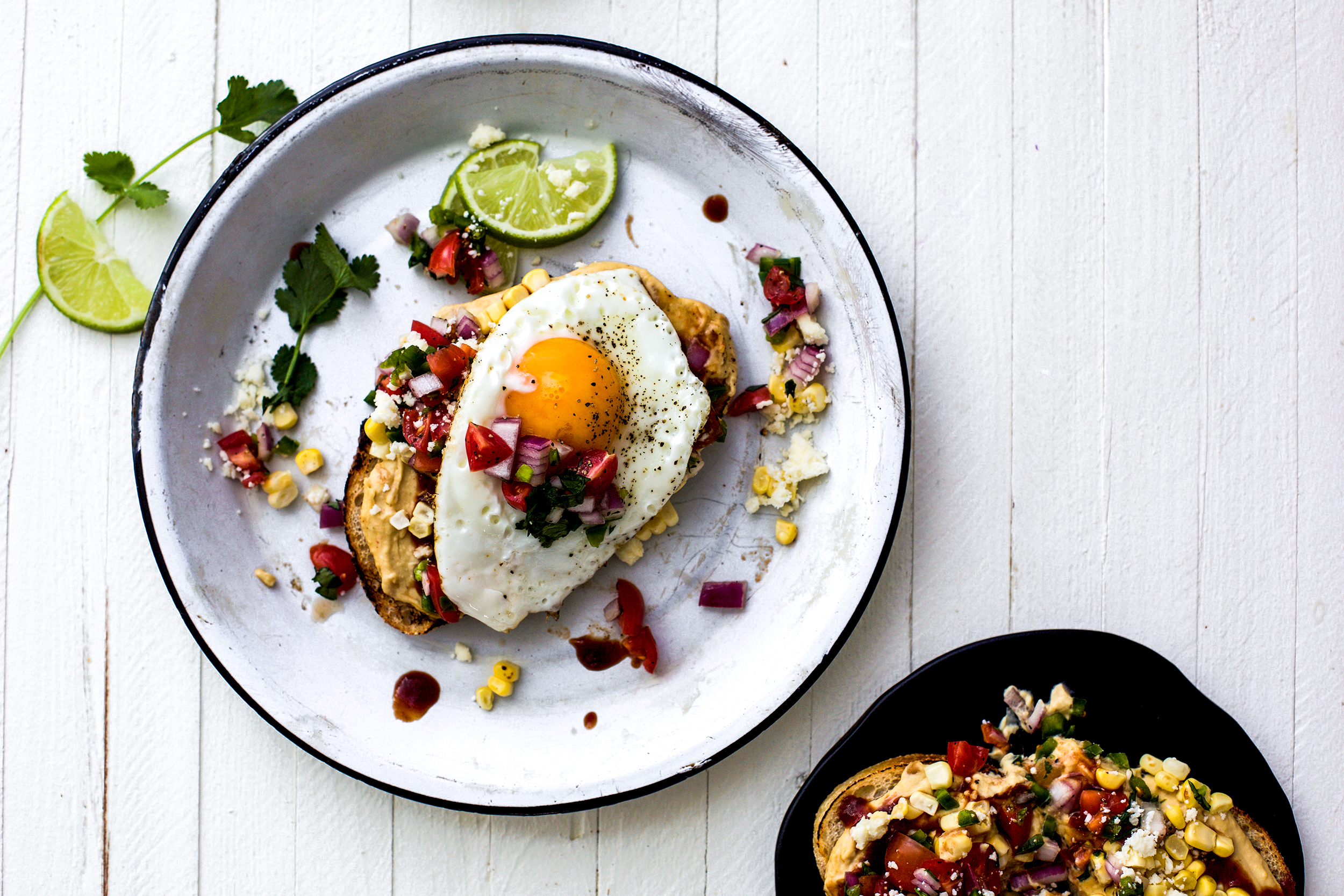 Tex-Mex BBQ Hummus Toast with Fried Egg