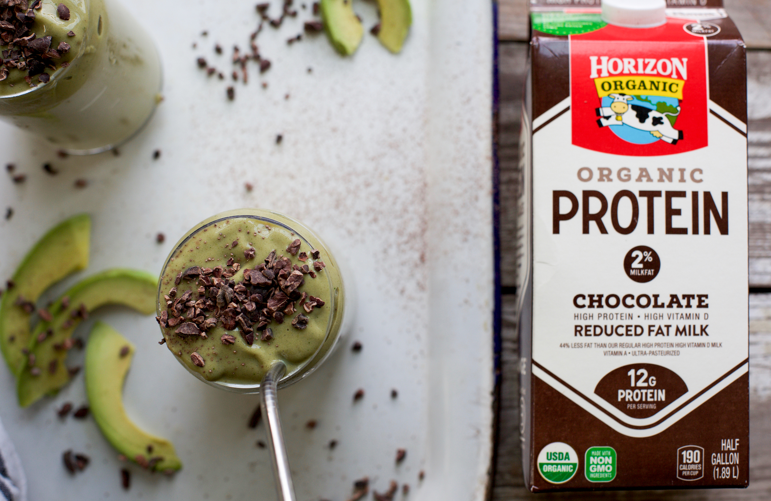 Creamy Avocado Cacao Smoothie with Chocolate Protein