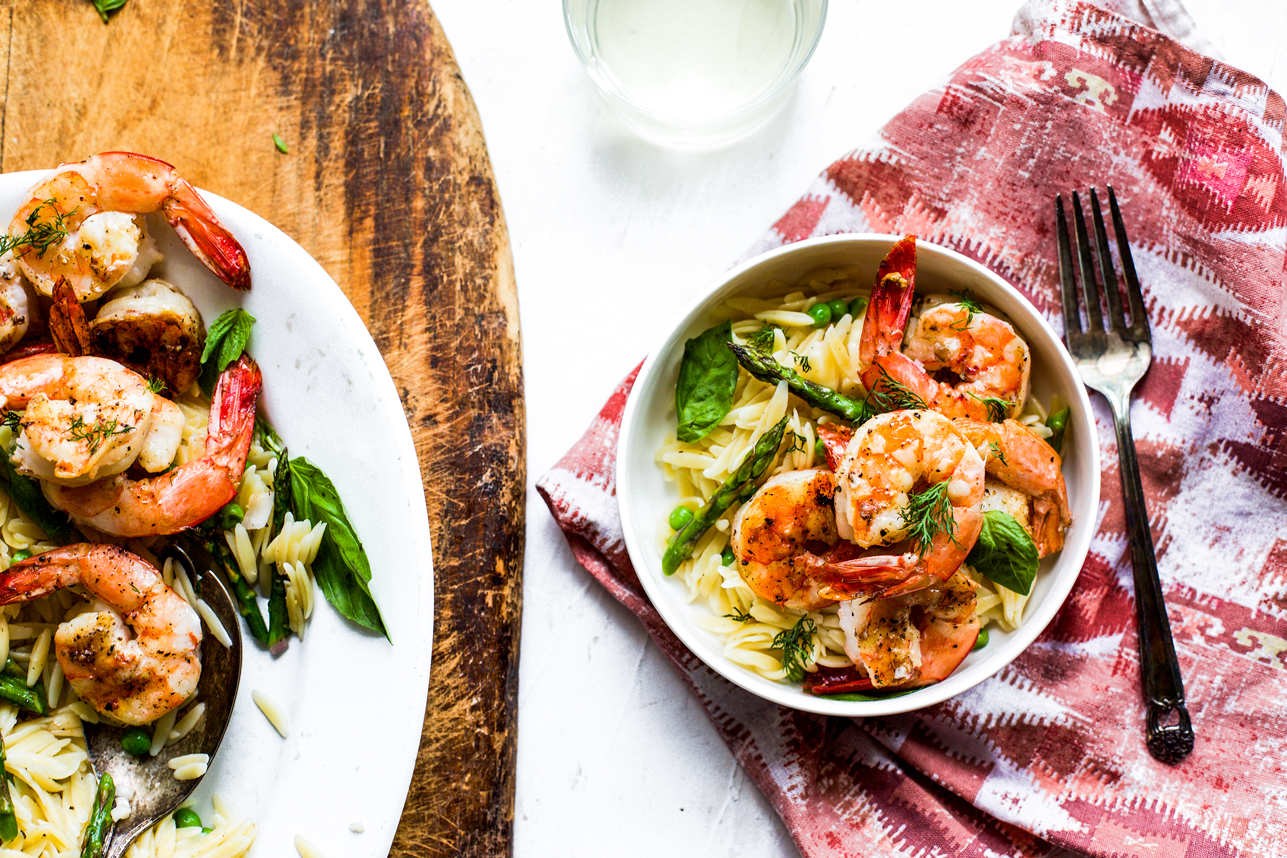 Grilled Lemon, Shrimp, and Asparagus Orzo Salad