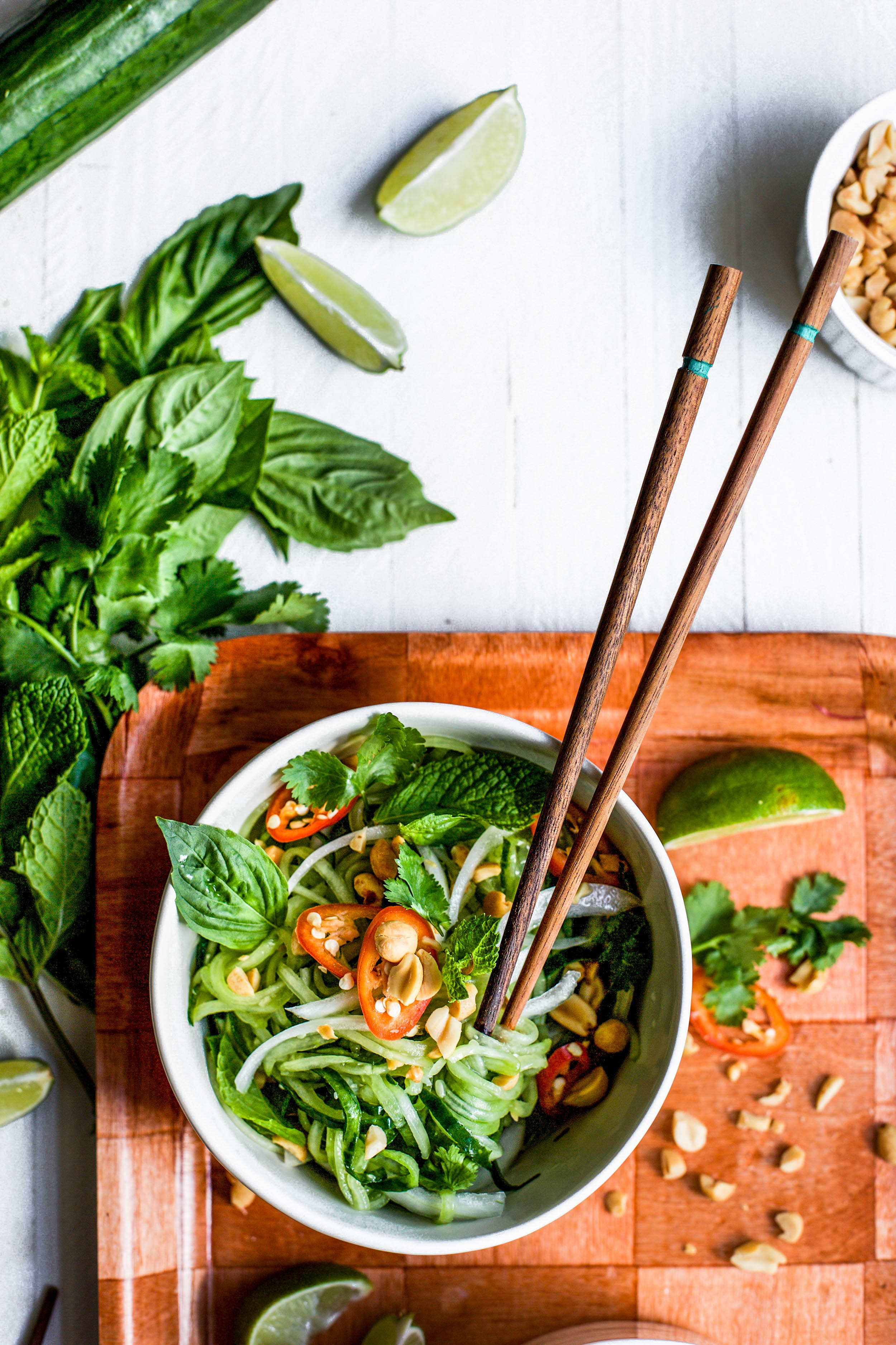 Spicy Asian Cucumber Noodle Salad