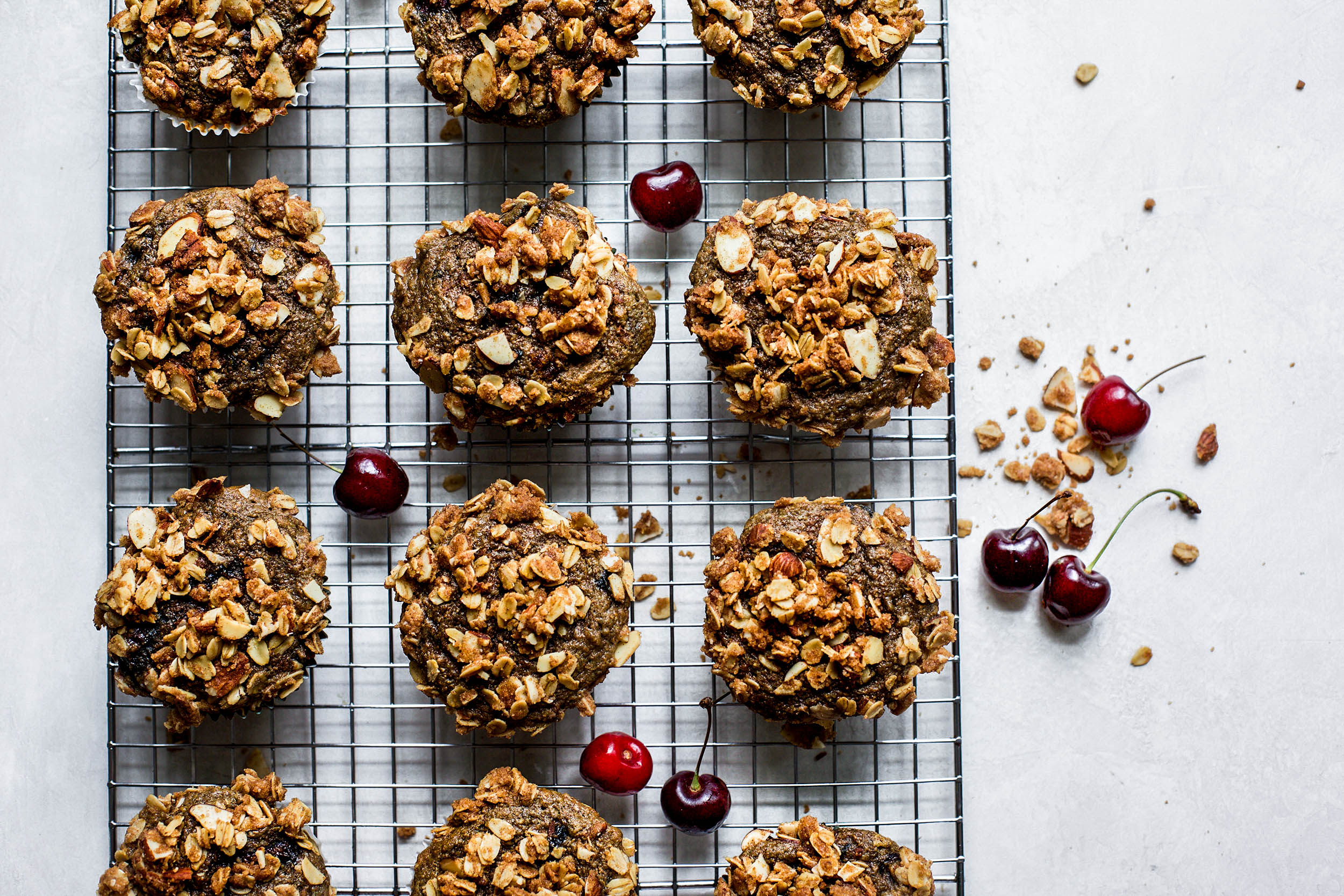 Whole Wheat Cherry Almond Streusel Muffins