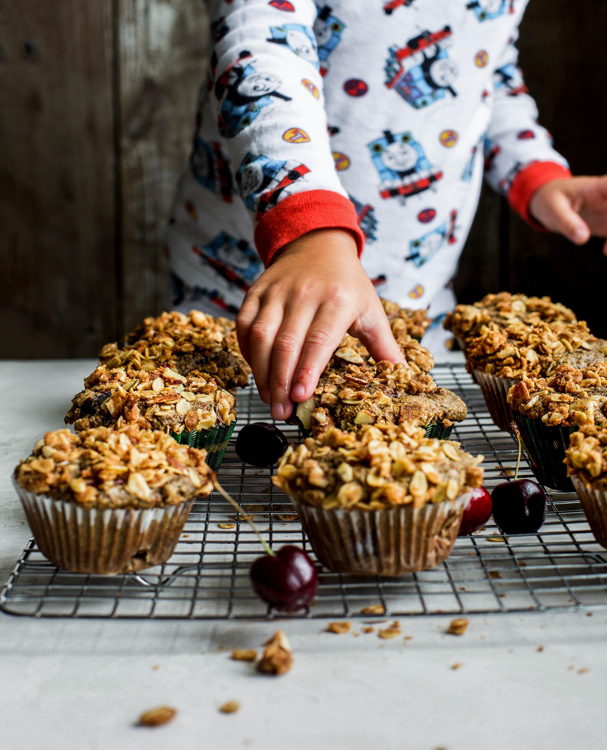 Cherry Almond Streusel Muffins