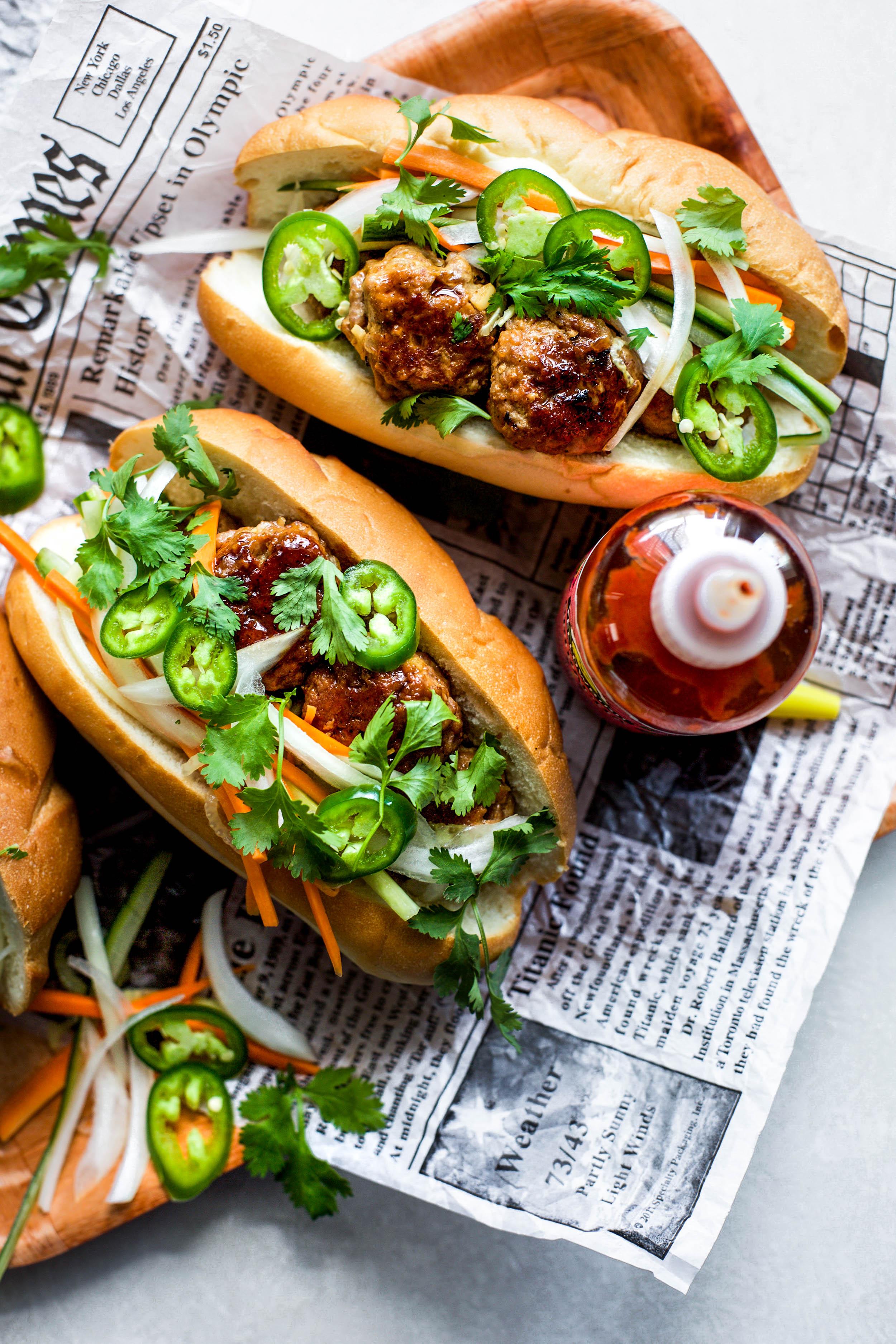 Bahn Mi Meatball Sandwiches