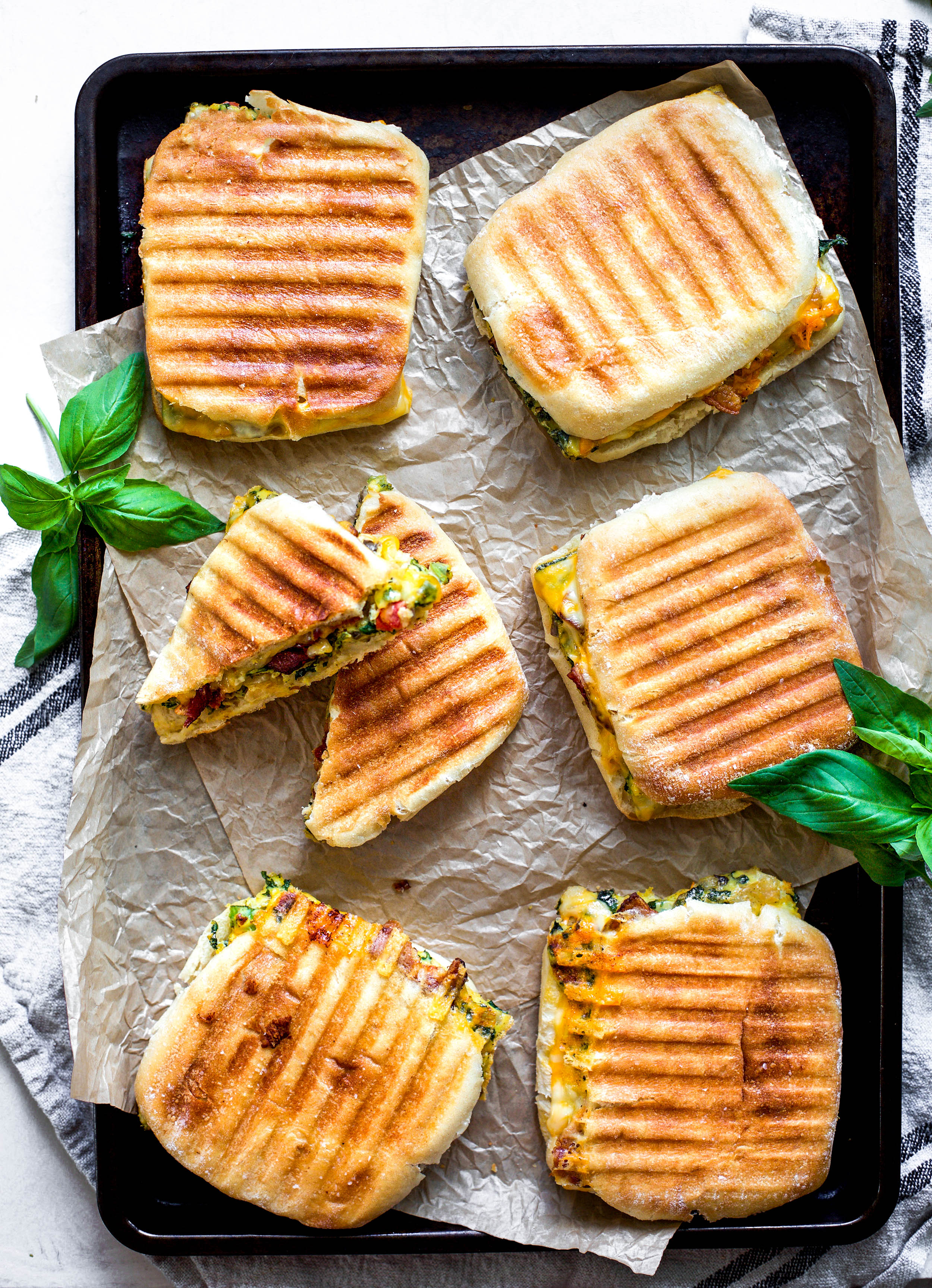 Veggie Loaded Egg and Bacon Breakfast Paninis