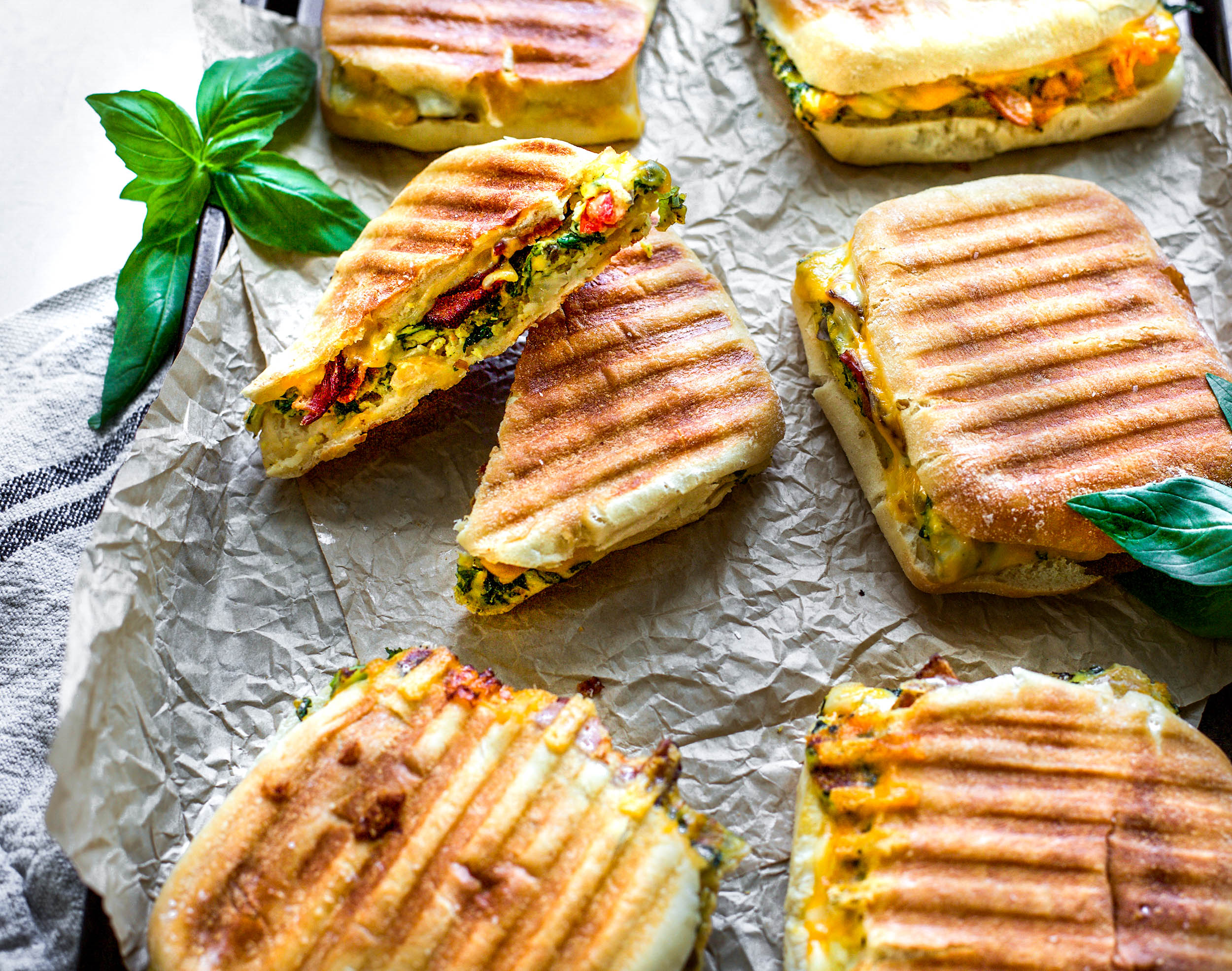 Veggie Egg and Bacon Breakfast Panini