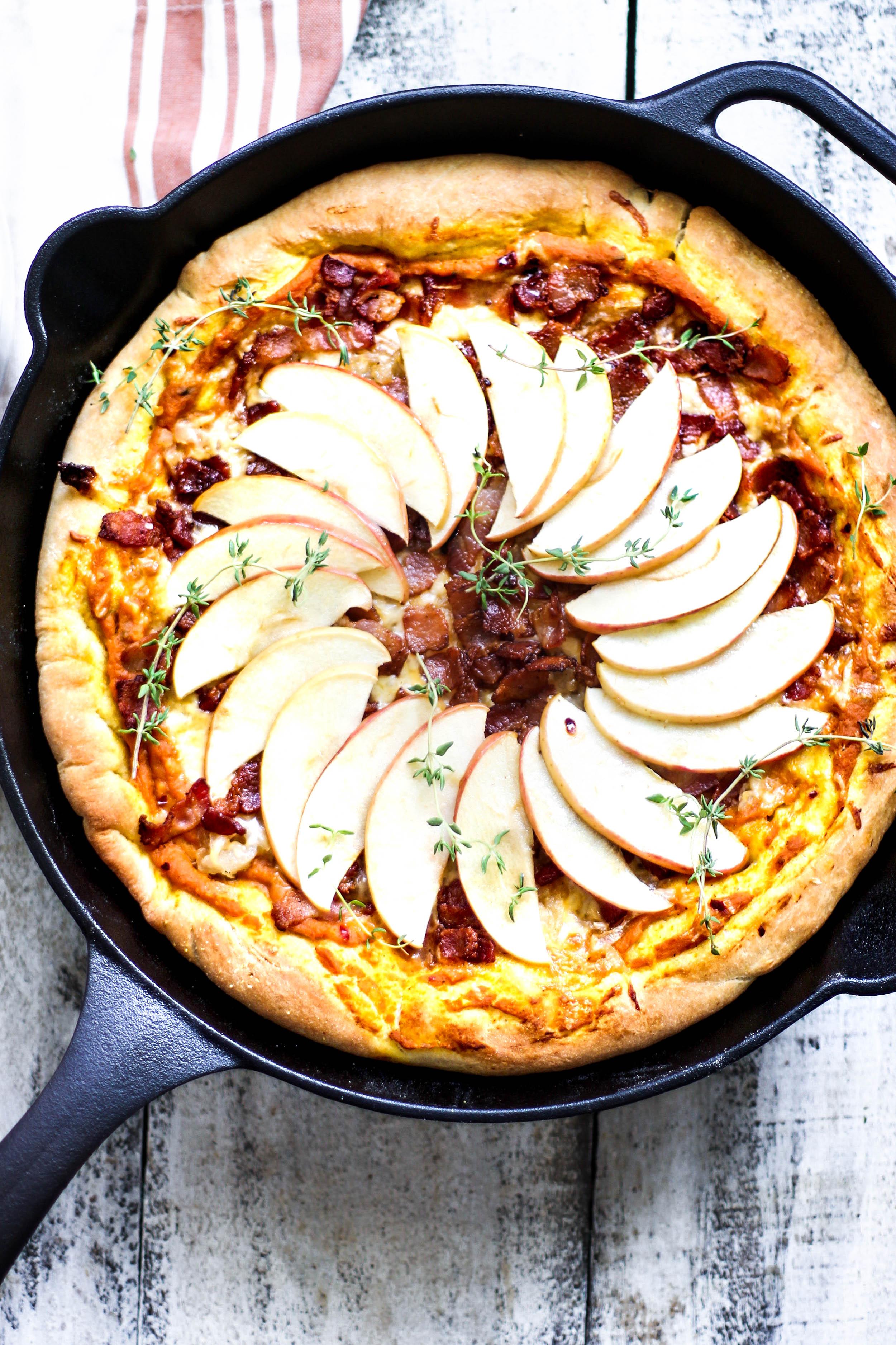 Apple, Bacon, and Pumpkin Pan Pizza