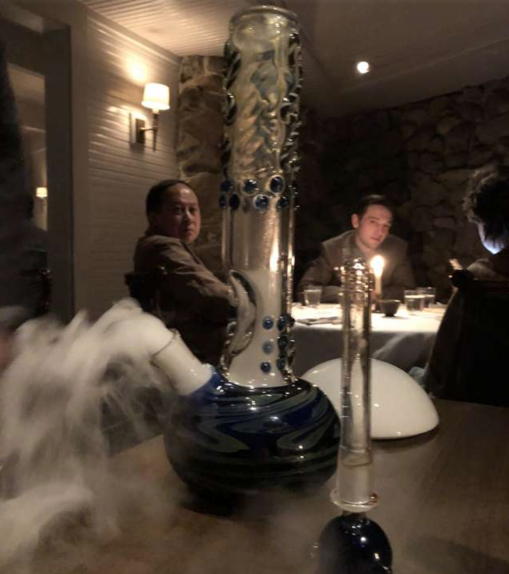 A glass bong full of porcini mushroom broth and smoke at the French Laundry in Yountville.  Photo: Soleil Ho / The Chronicle