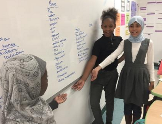 WHO WE ARE -  Students negotiate agreements, where goods and services from countries they researched are valued and traded.