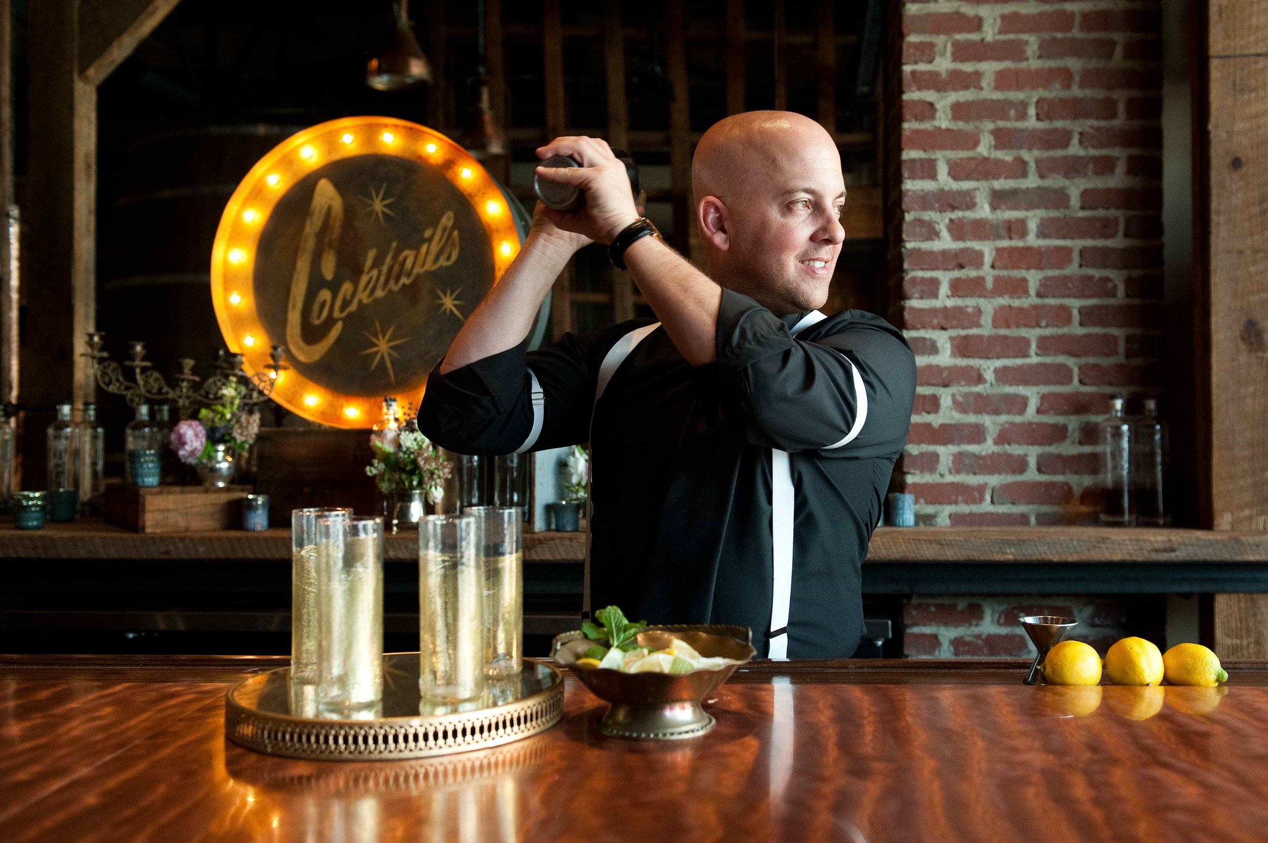 {My handsome hubby modeling as the bartender}
