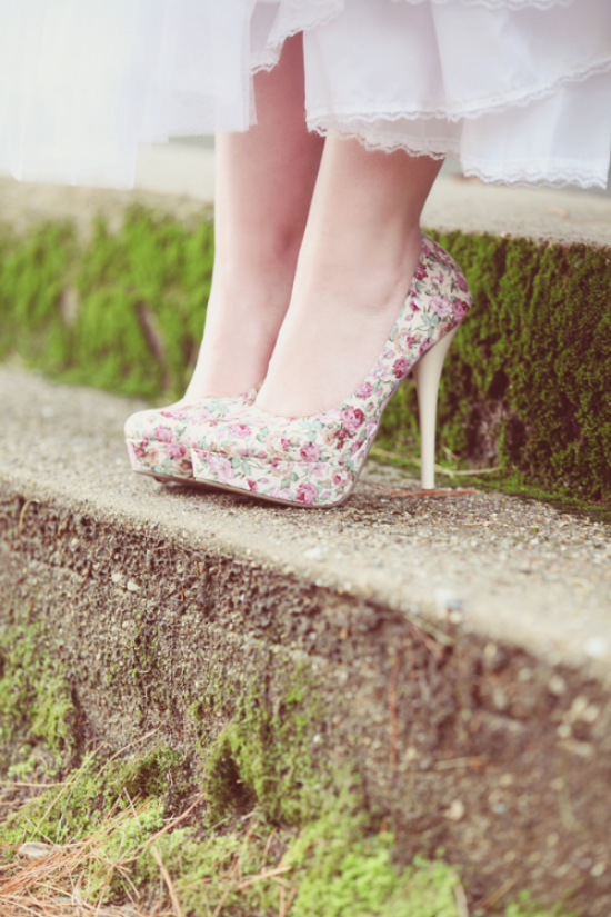 {Floral Wedding Shoes from  The Ruffled Blog }