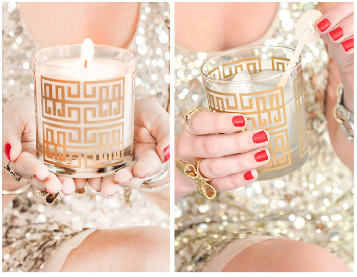 {Emily McCarthy Shoppe is one of my go-to spots for the cutest monogrammed invitations, and curiosities! She just announced her Prosecco  Cocktail Candles  and I love how it can be used as a cocktail glass after}