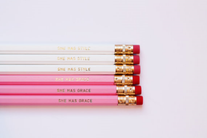 {A Blissful Nest is not only one of my favorite people to follow on Instagram, but also one of my favorite Etsy shops. I adore these custom pink and white pencils. She does everything from pencils, to calendars to adorable phone covers. These are on my   next thing to order   list!}