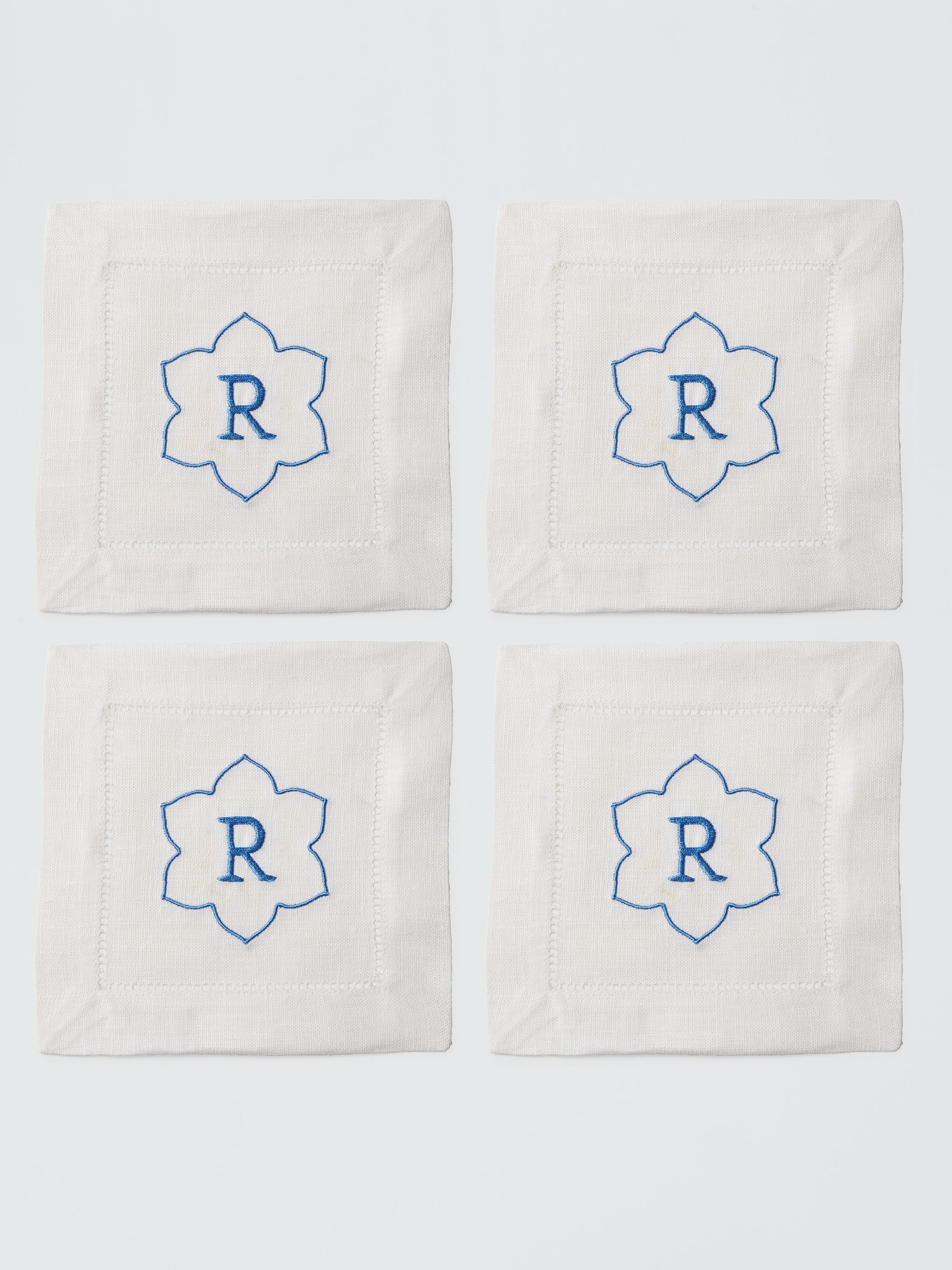 Single Letter Monogrammed Cocktail Napkin Set  - Sferra Linen napkinsand crafted by Number Four Eleven, a charming shop in the heart of Savannah, GA.