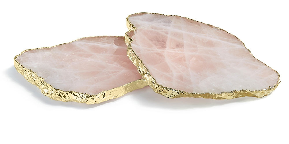 Kivita Coasters  in Rose Quartz and Gold from Bliss Home & Design