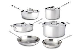 All Clad stainless steel cookware.
