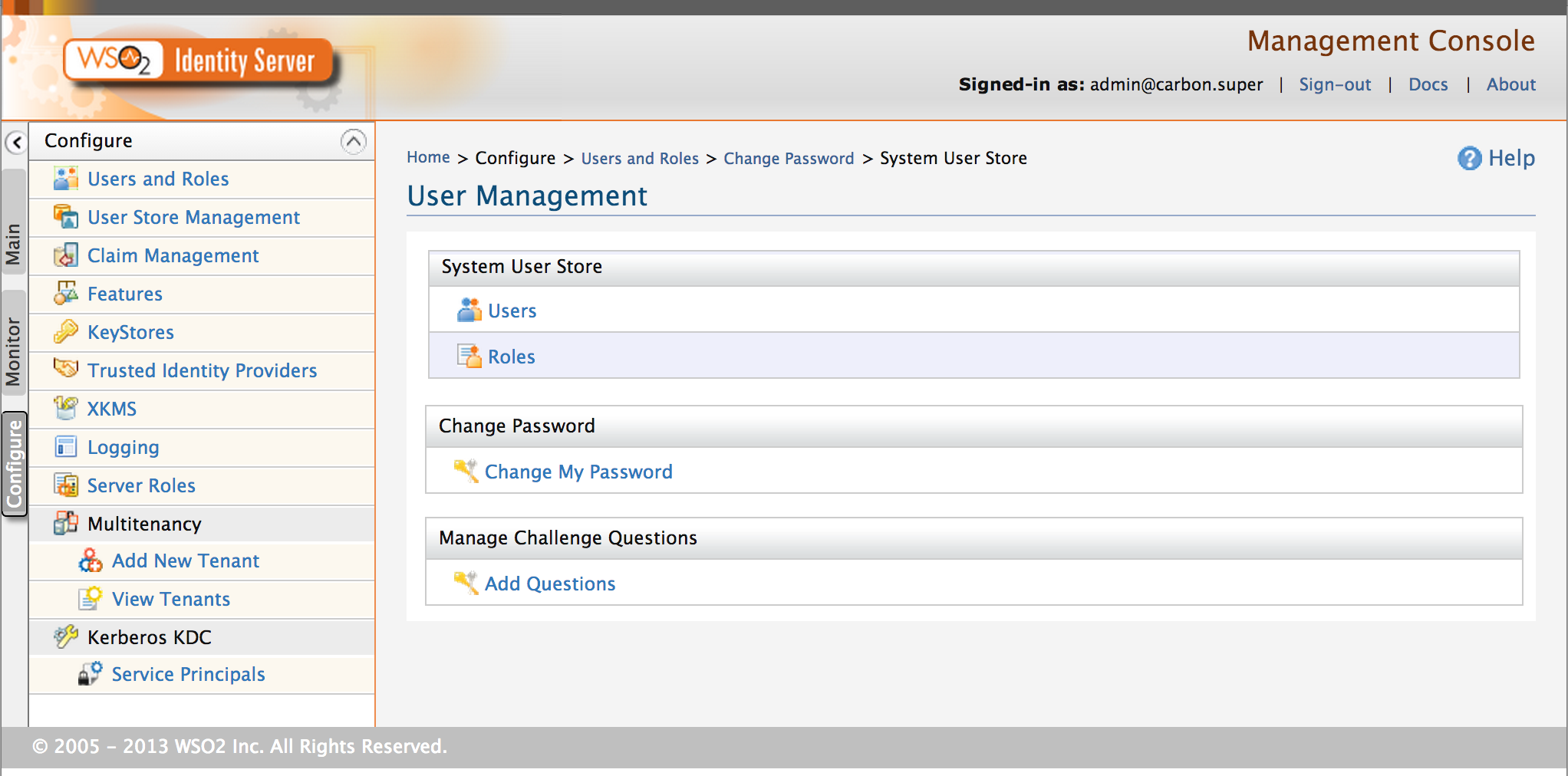 Image 2 | WSO2 Identity Server 4.6.0 | Management of Users and Roles Main Page