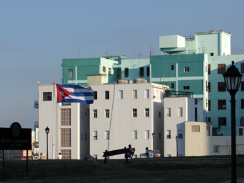 A view of the Cuban flag from the back of the Hotel Nacional