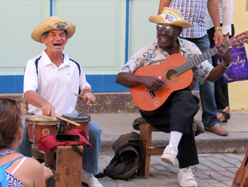 Musicians playing on the street in Old Havana