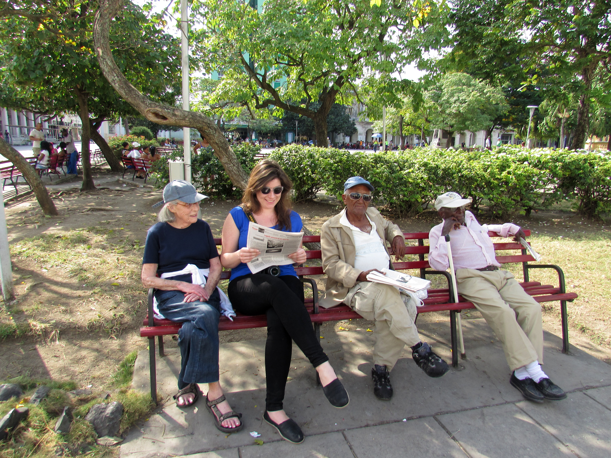 Fellow travelers relaxing with locals