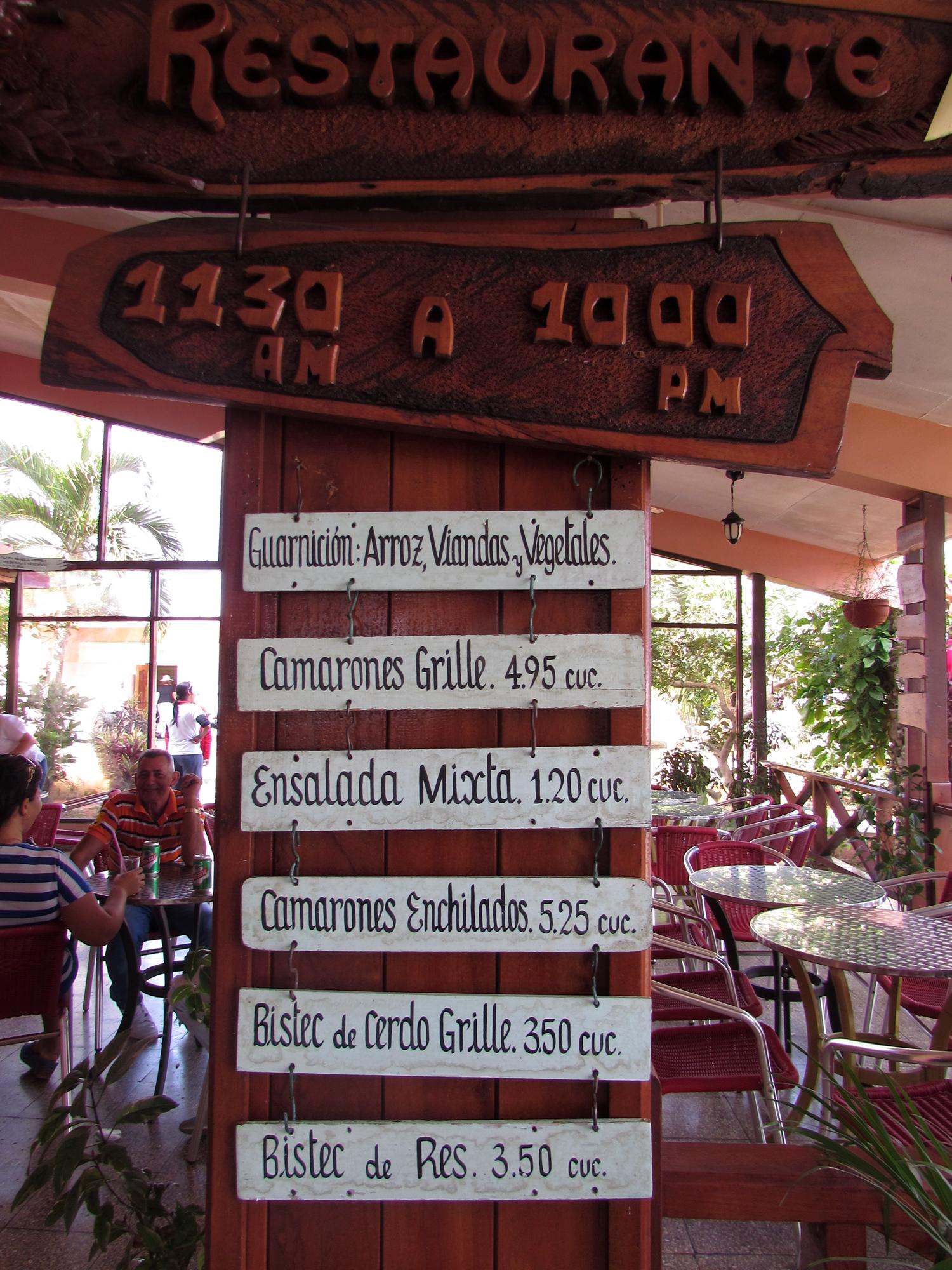 Rest stop menu