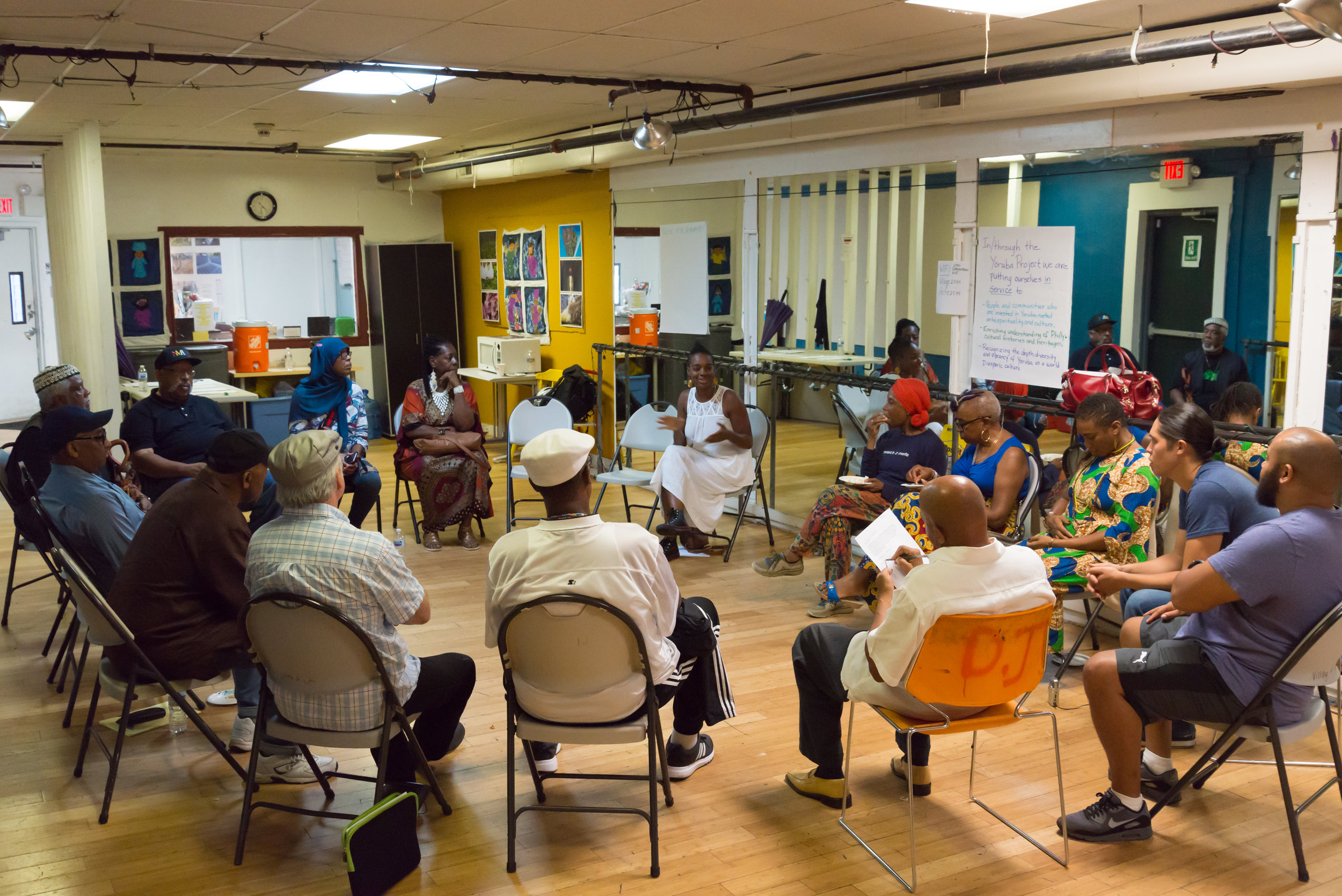 Story Circle underway at the Village of Arts and Humanities. Photo: Kat Kendon.