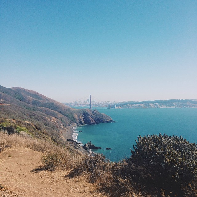 View of the Golden Gate Bridge and San Francisco from Marin Headlands