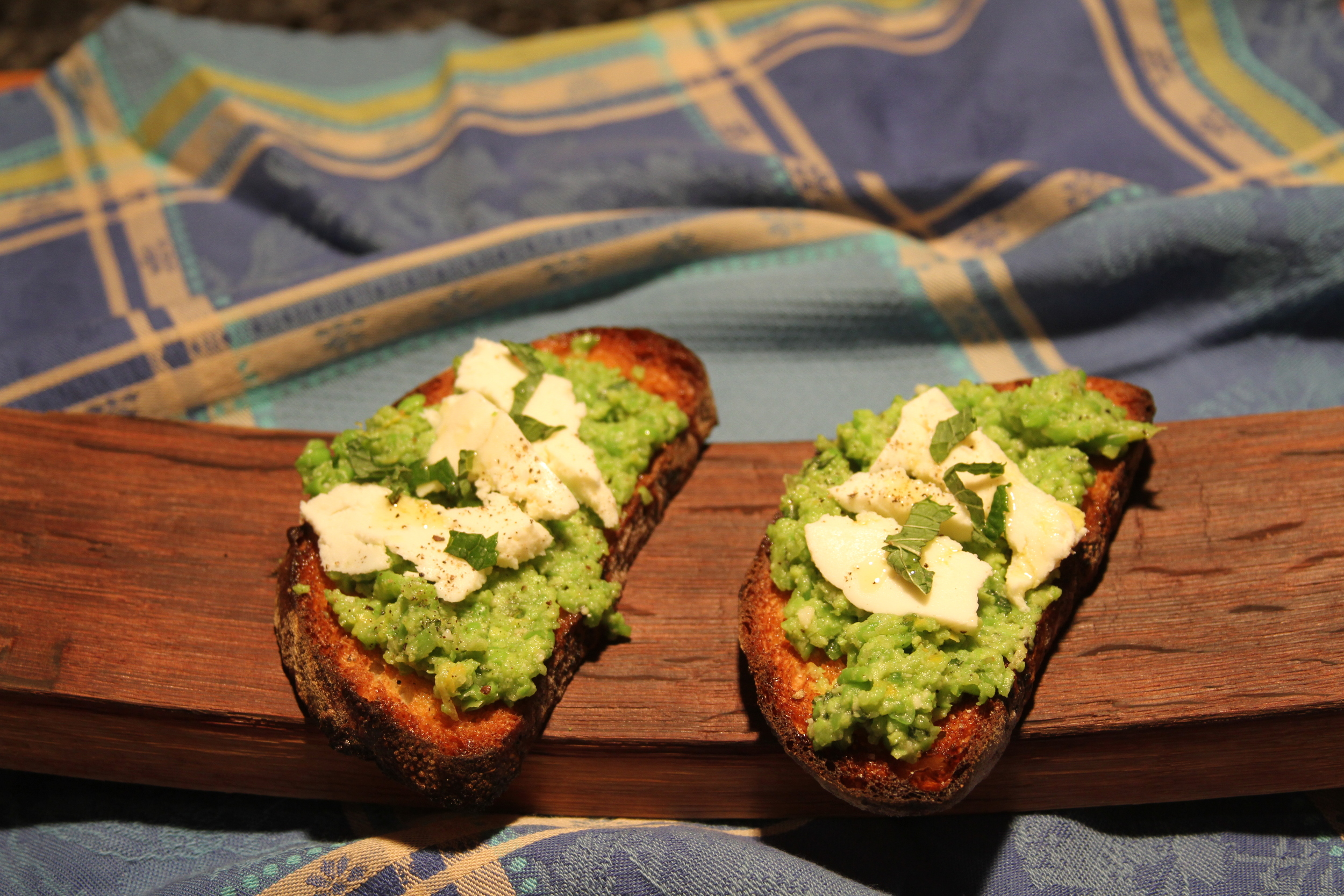fava bean and pea bruschetta