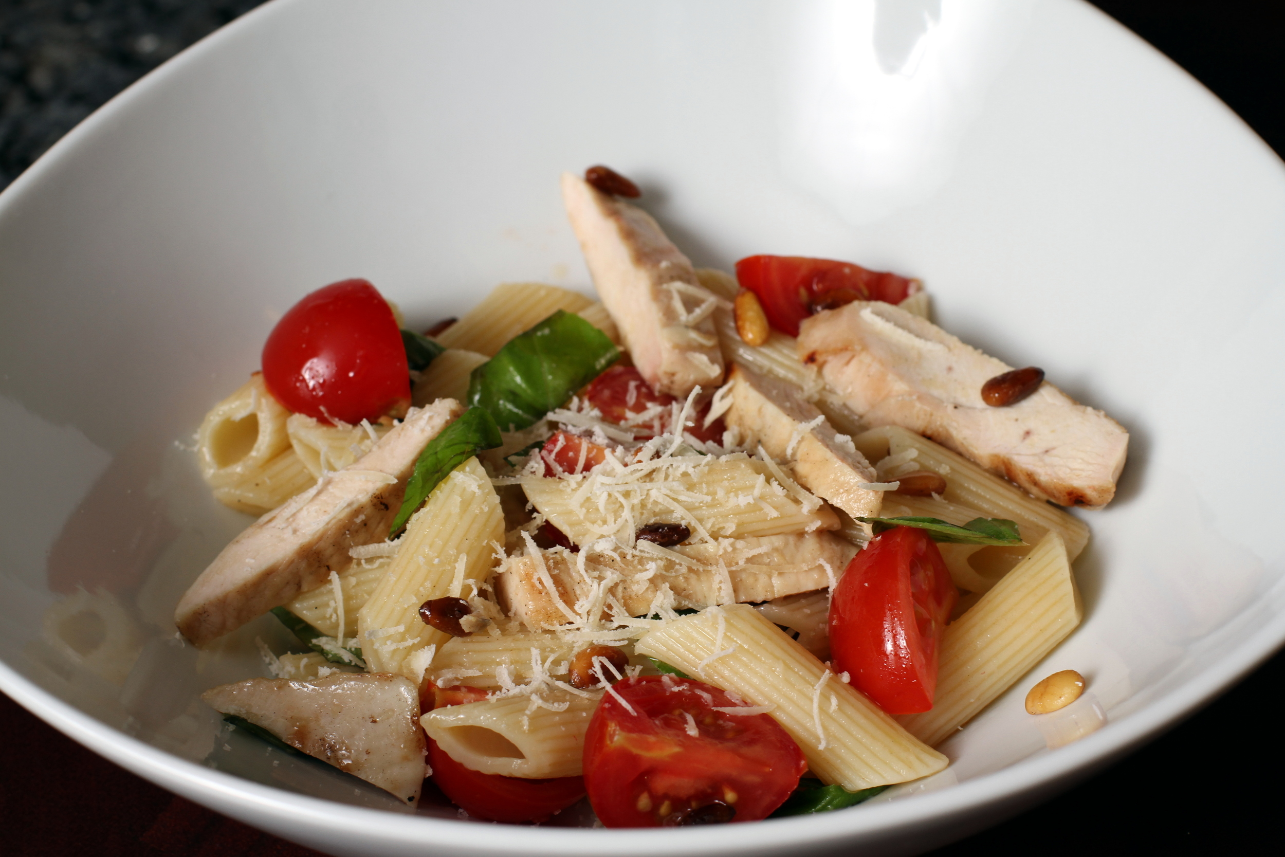 penne with grilled chicken, tomatoes and pine nuts